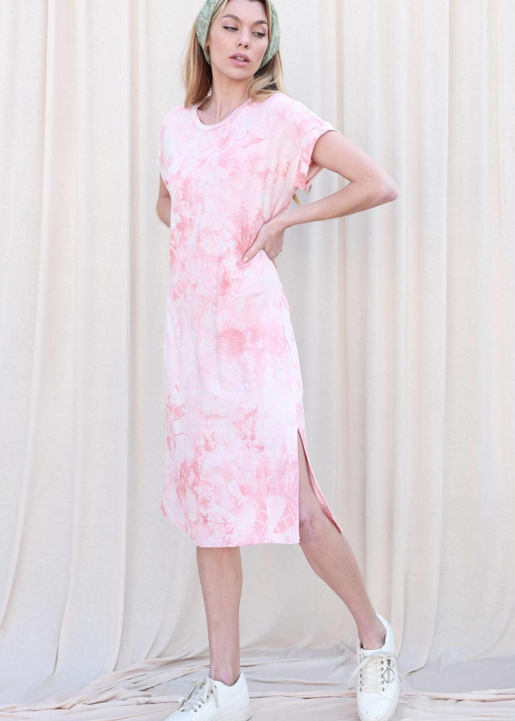 Tie Dye Midi Dress | Peach