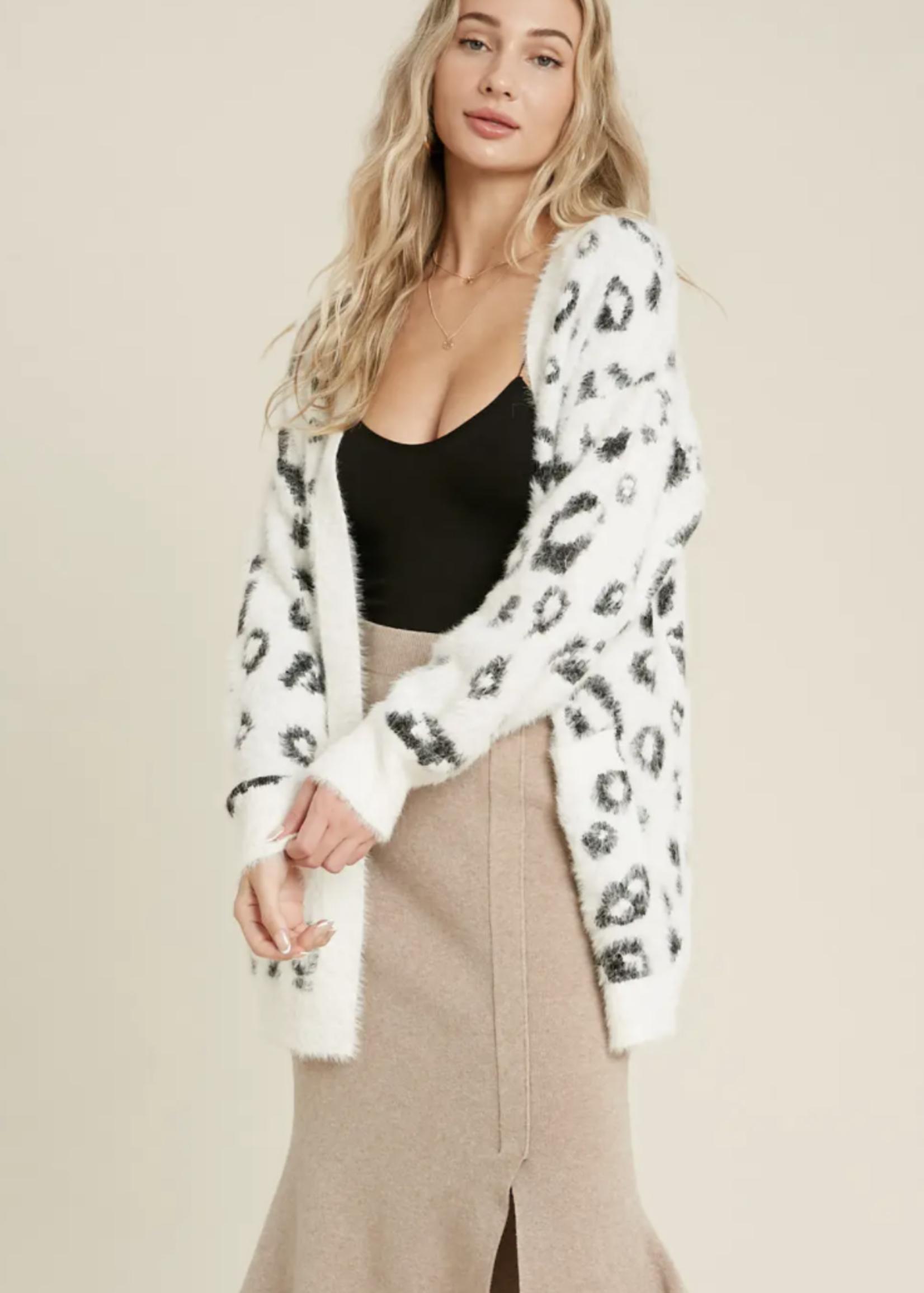 Fuzzy Open Front Leopard Cardigan