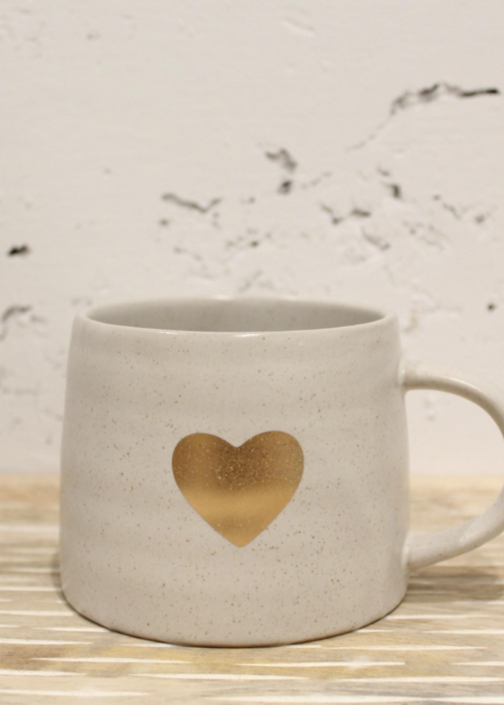 Indaba Trading Co Gold Heart Mug   White