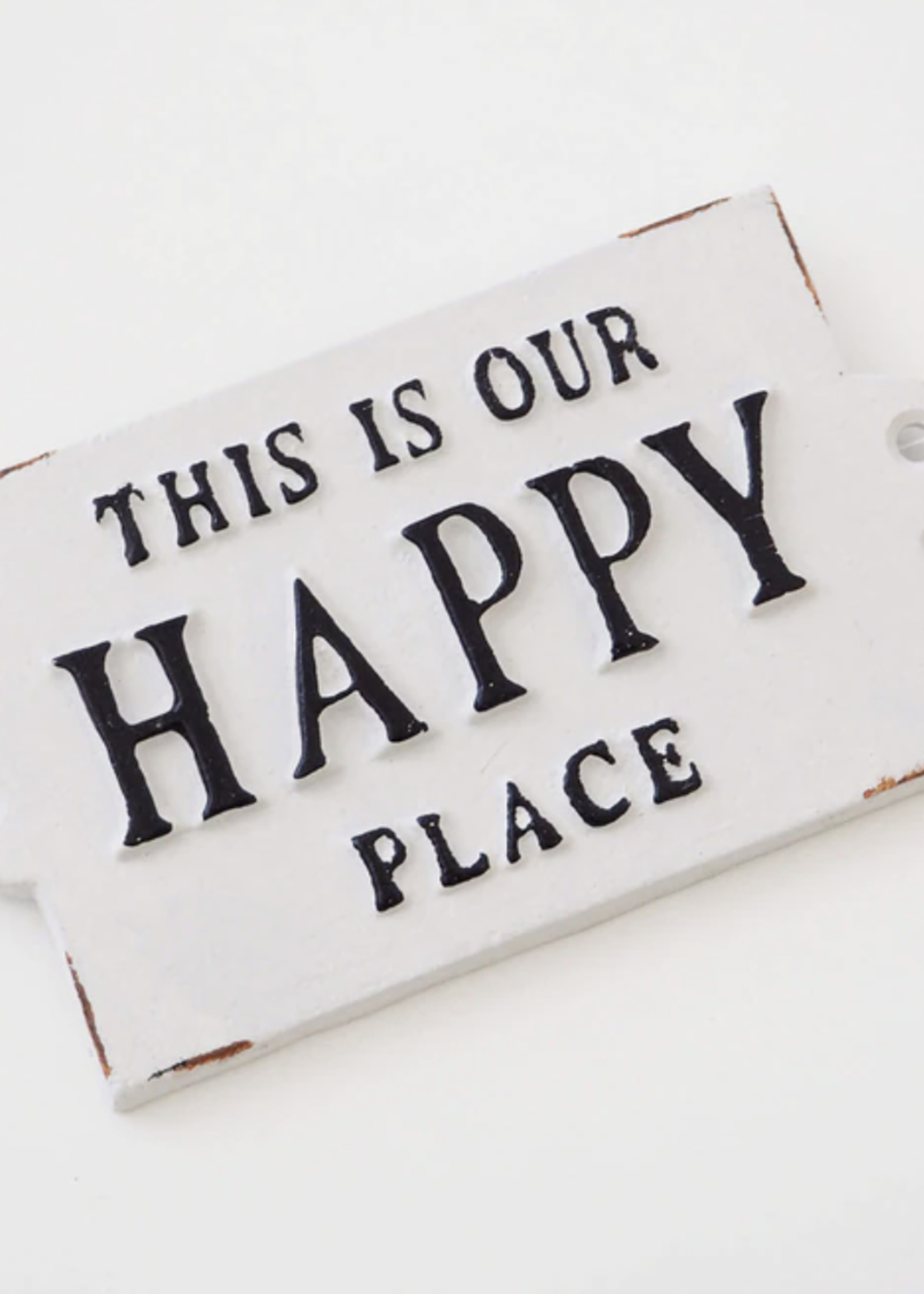 Indaba Trading Co Happy Place Cast Iron Sign