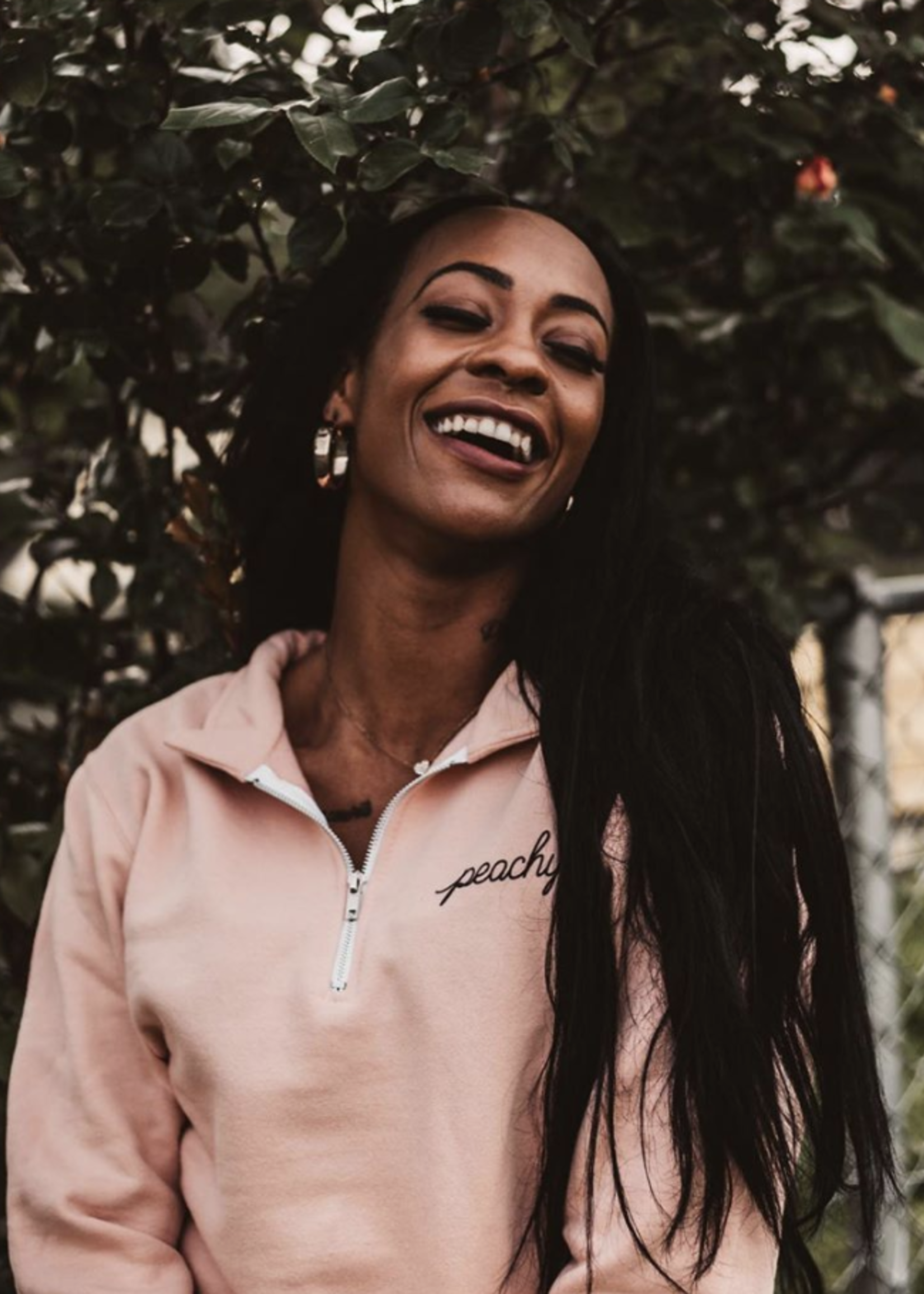 """The Sweet Life Apparel & Gifts Peachy 1/4"""" Zip Pullover"""