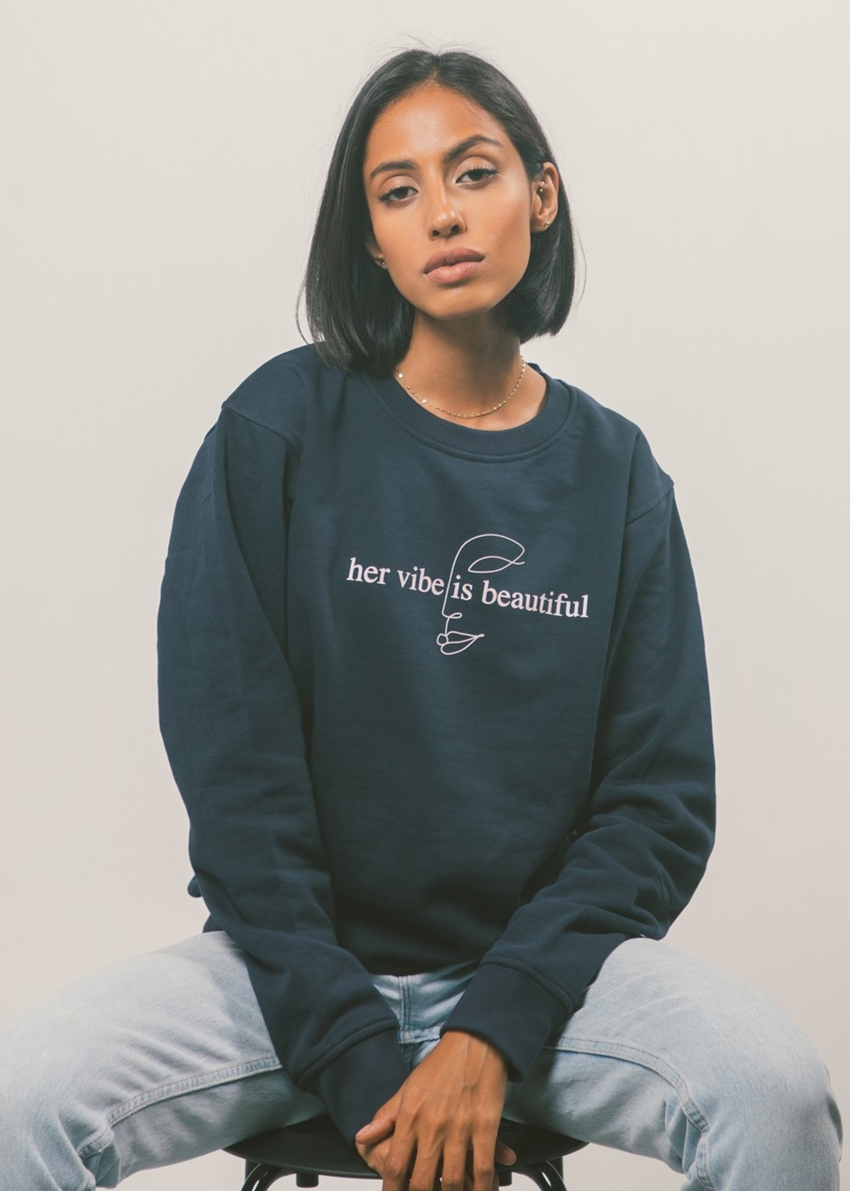 Peace Collective Her Vibe Crewneck | Navy