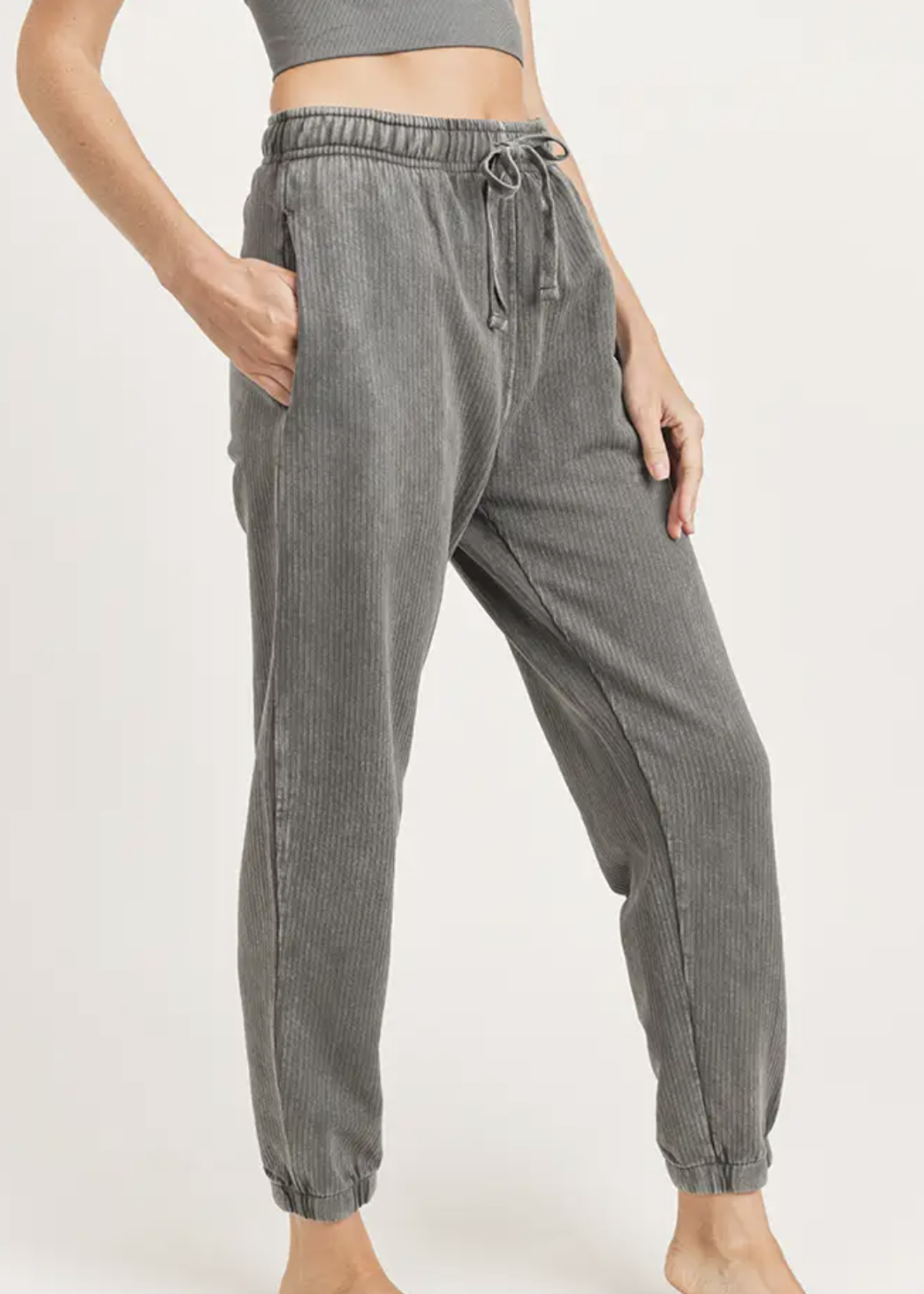 Mineral Washed Ribbed Joggers | Charcoal