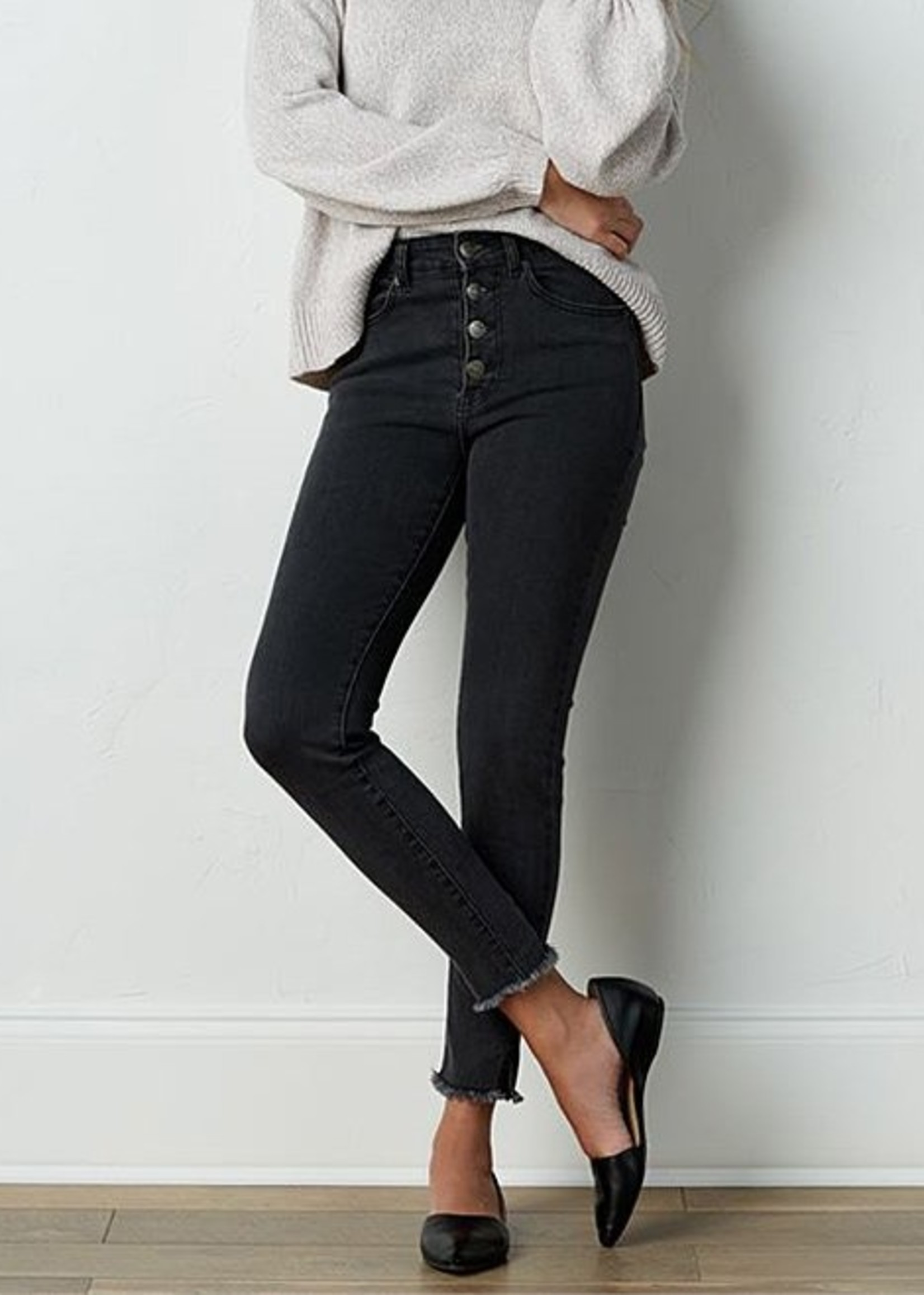 Mud Pie Wells Button-Fly Jeans | Black