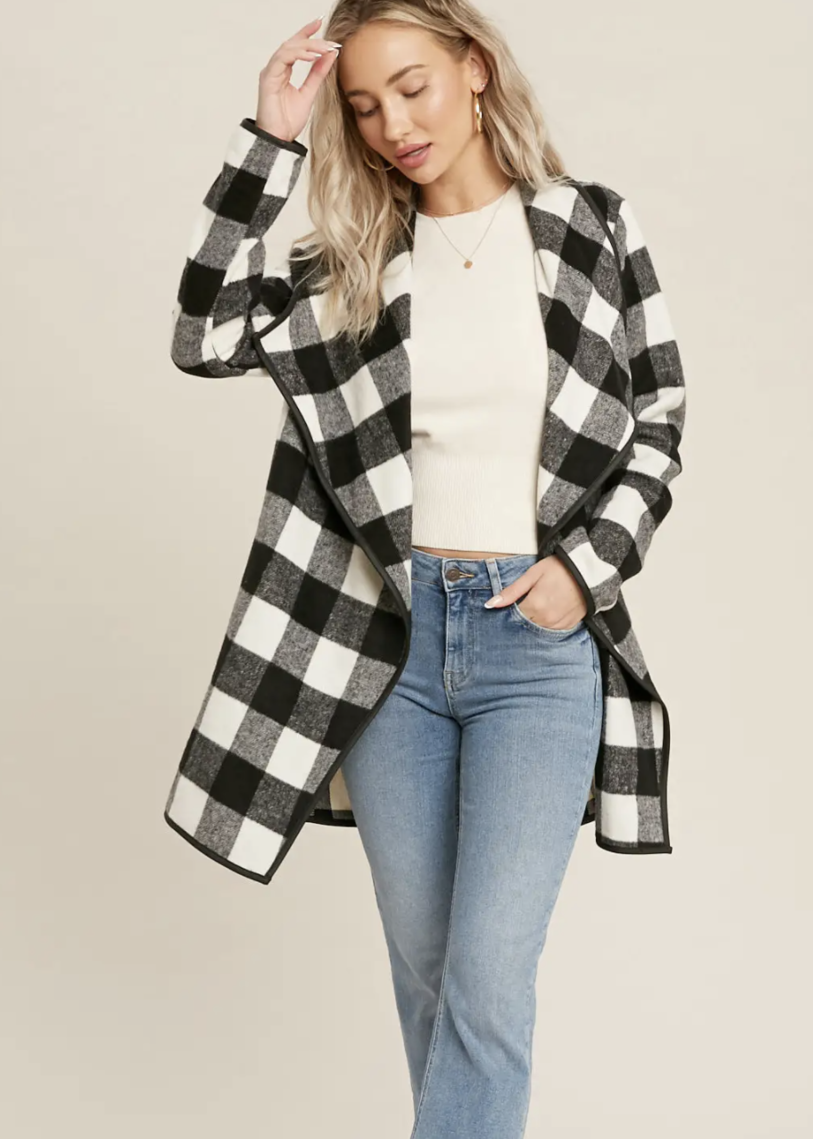 Plaid Drape-Front Jacket