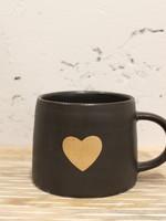 Indaba Trading Co Gold Heart Mug | Black