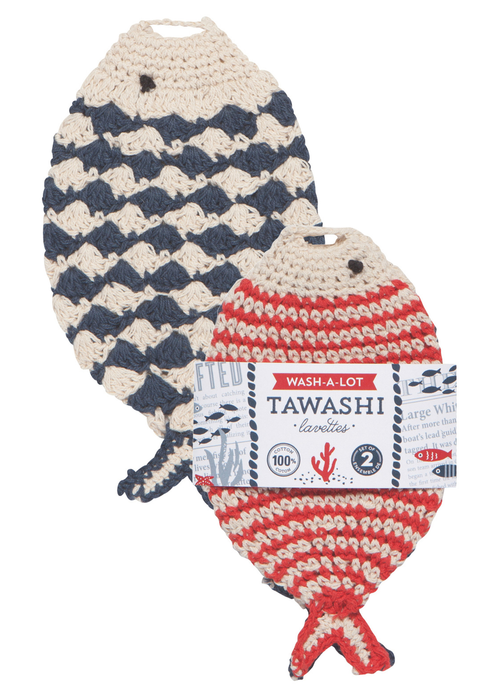 Now Designs Little Fish Wash-A-Lot Tawashis Set of 2