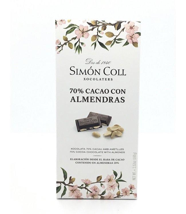 Simon Coll 70% Dark Chocolate Almond  Bar 2.99 oz