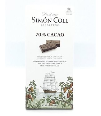 Simon Coll 70% Dark Chocolate Bar 2.99 oz Simon Coll 70% Dark Chocolate Bar 2.99 oz