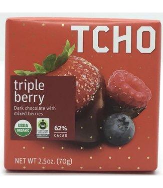 Tacho Triple Berry Dark Bar 2.5oz Tcho Triple Berry Dark Bar 2.5oz