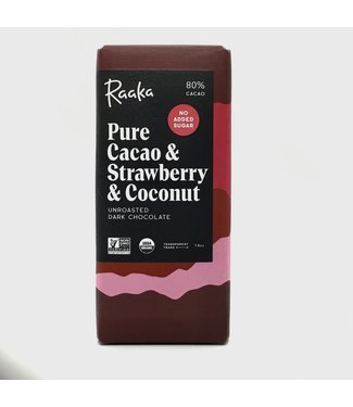 Raaka Pure Cacao & Strawberry & Coconut Chocolate Bar 80%  1.8 oz Raaka Pure Cacao & Strawberry & Coconut Chocolate Bar 80%  1.8 oz