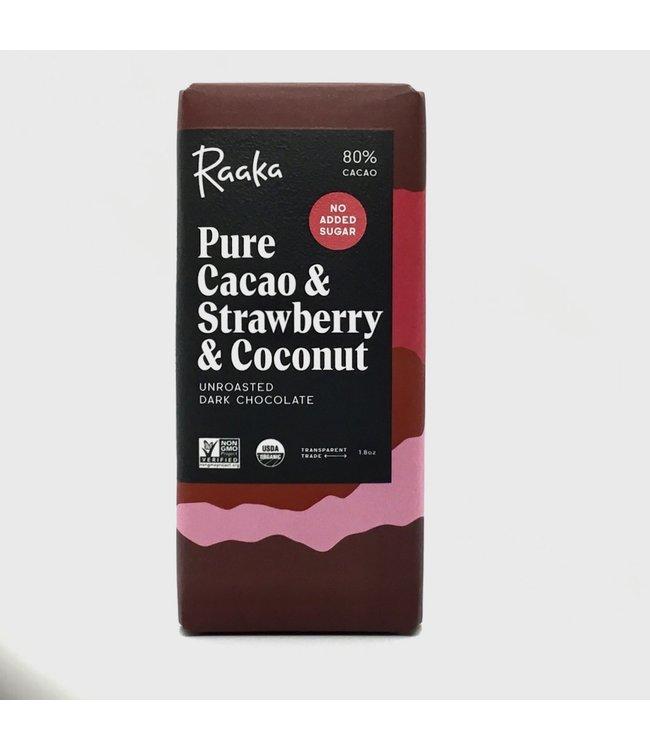 Raaka Pure Cacao & Strawberry & Coconut Chocolate Bar 80%  1.8 oz