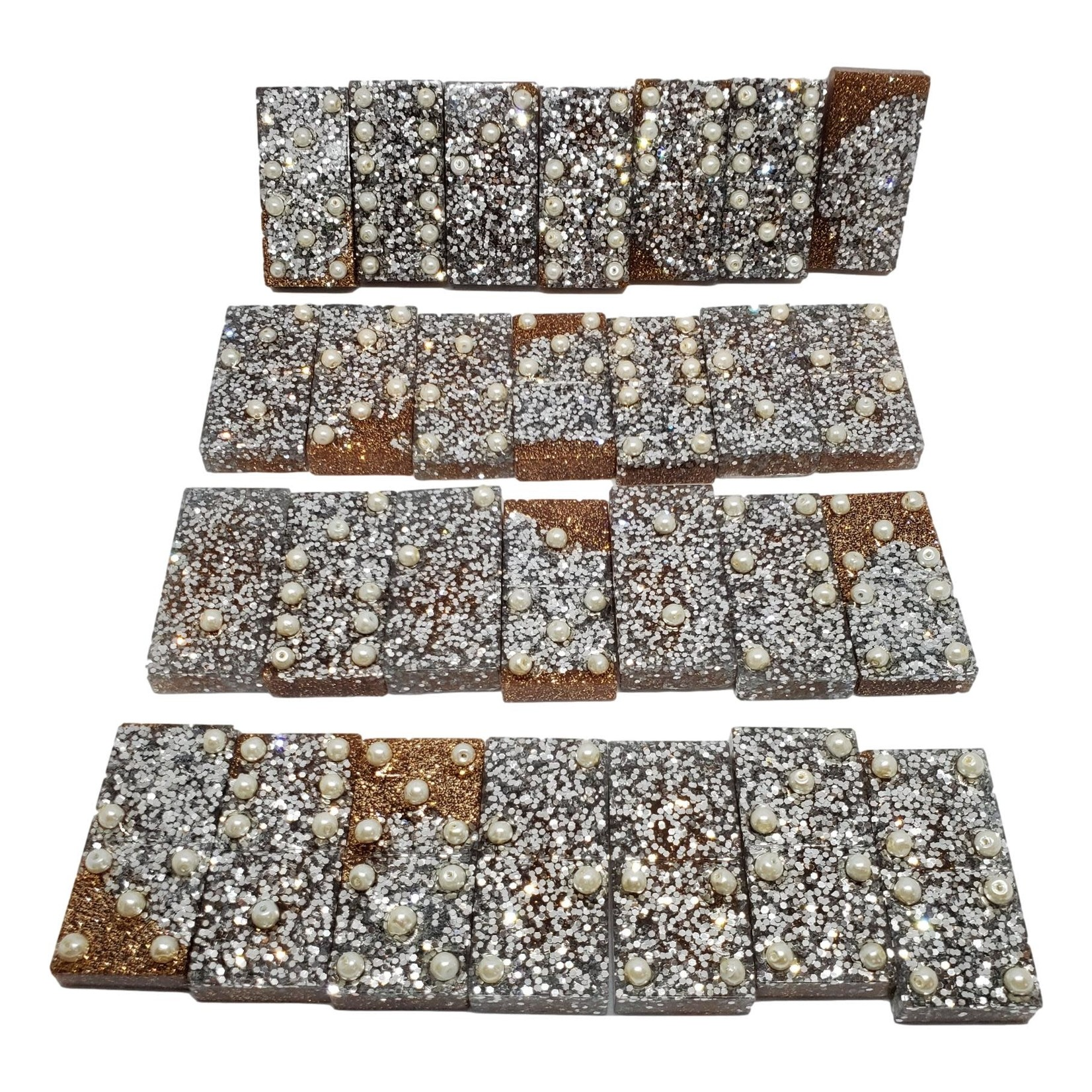 East Coast Sirens Gold & Silver 28-piece Resin Domino Game Tiles