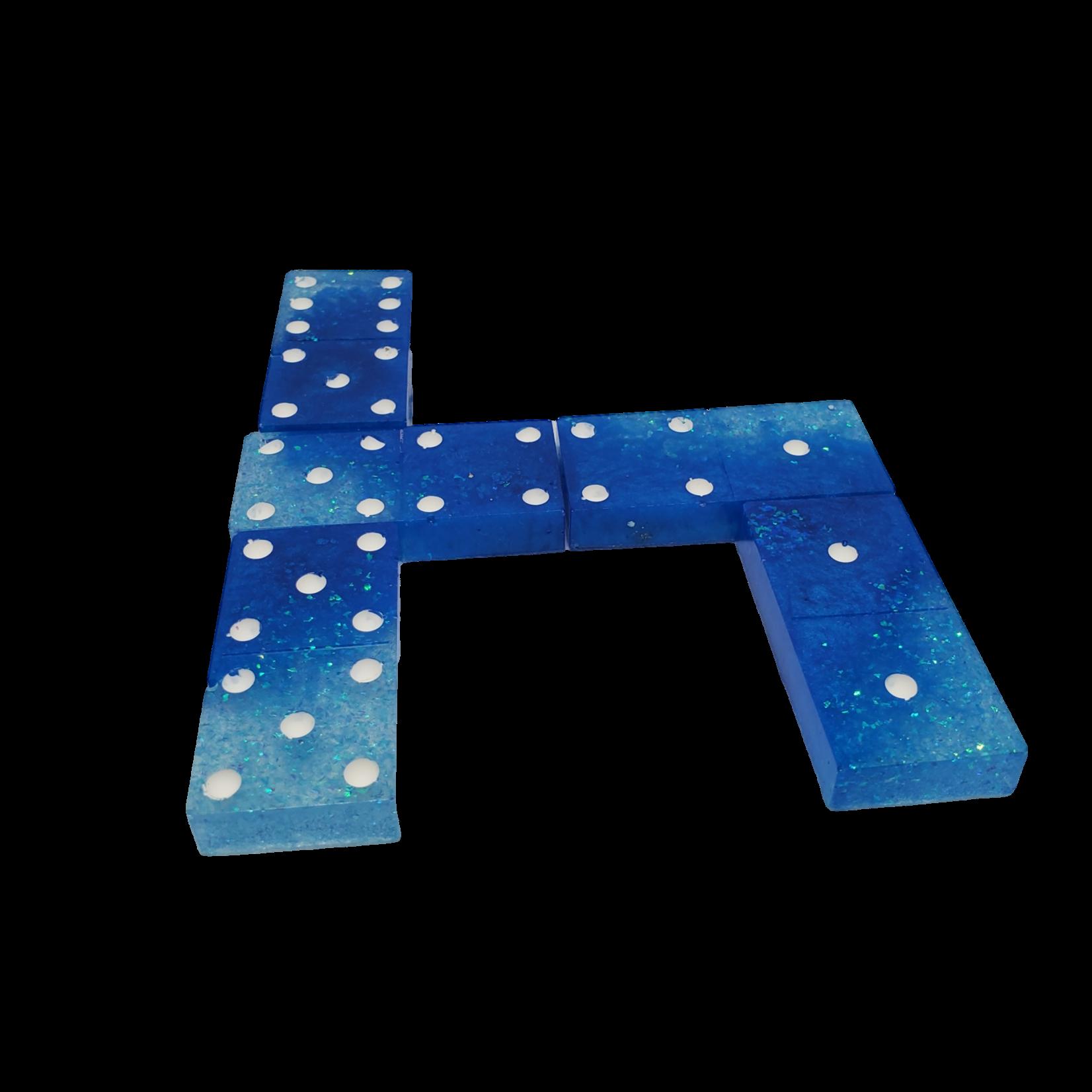 East Coast Sirens Blue Tones 28-piece Resin Domino Game Tiles
