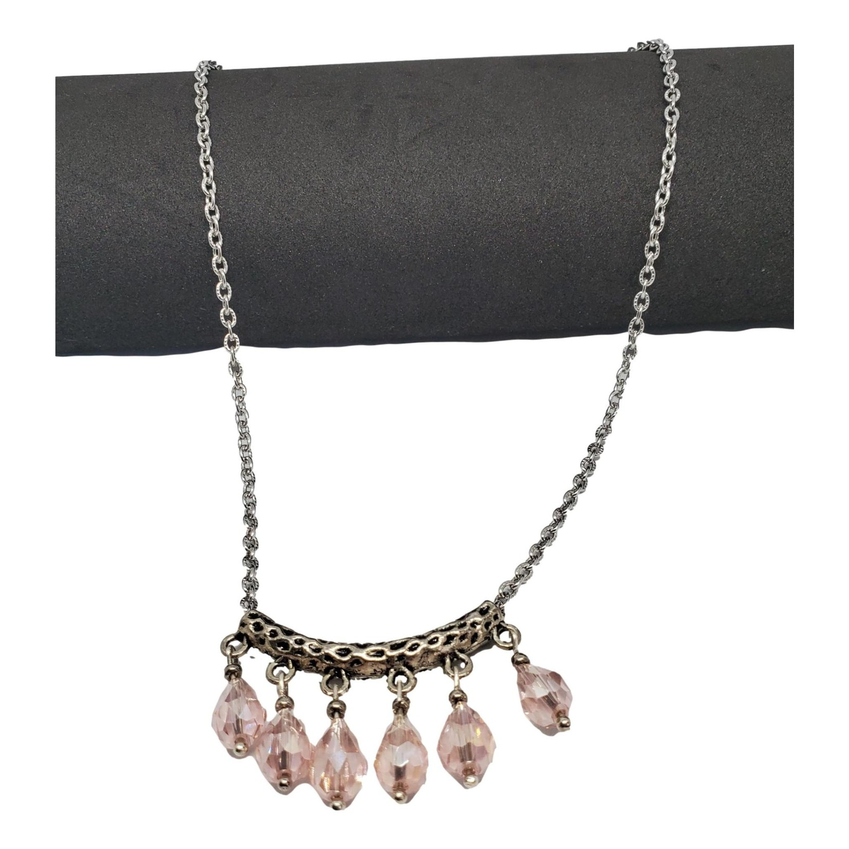 Jewellery by Deborah Young-Groves Silver-toned Pink Drop Necklace