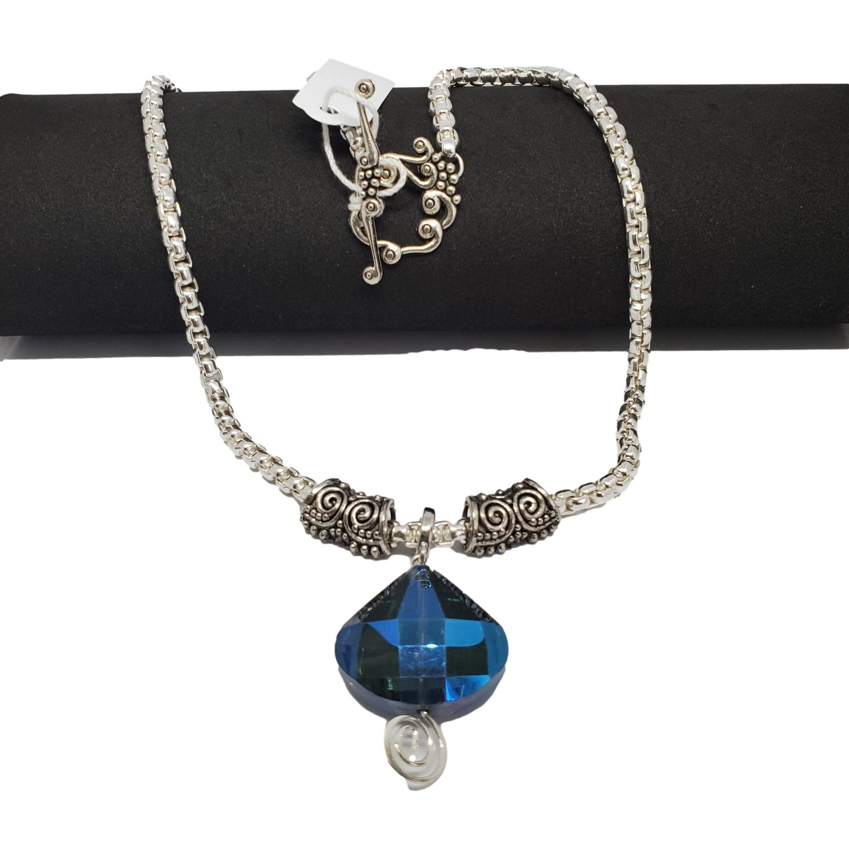 Jewellery by Deborah Young-Groves Silver-toned Chunky Necklace with Blue Stone Drop