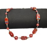Jewellery by Deborah Young-Groves Silver-toned Red Glass Stone Necklace