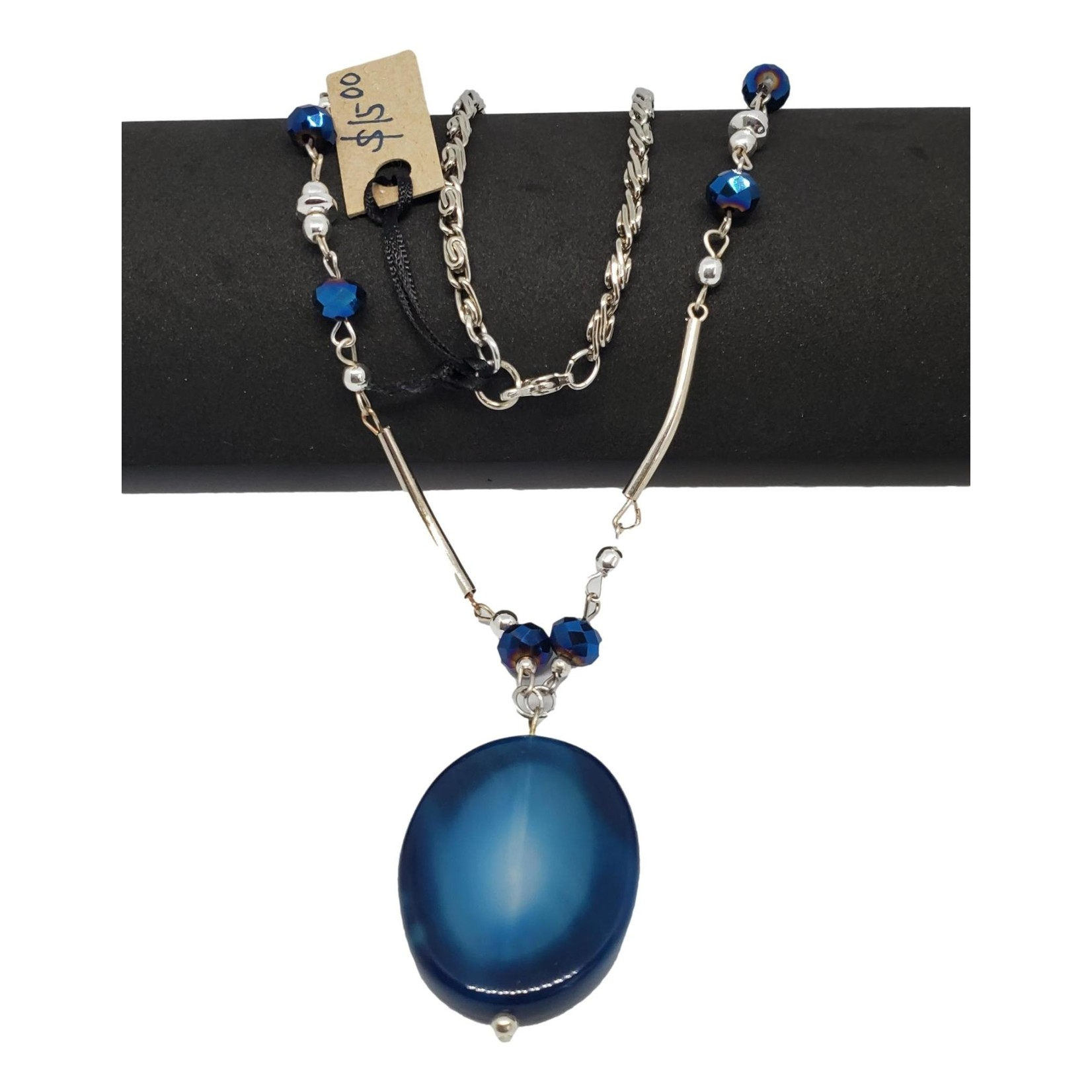 Jewellery by Deborah Young-Groves Silver-toned Necklace with Flat Blue Stone