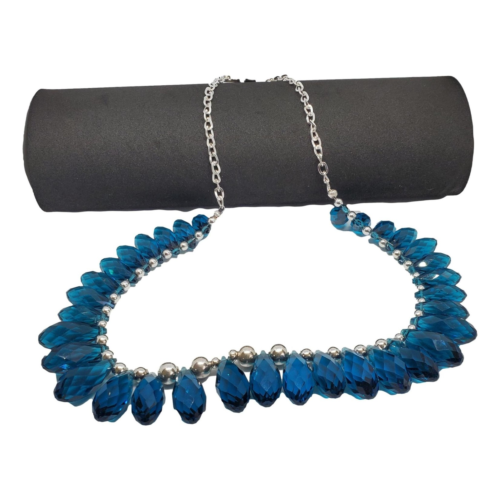 Jewellery by Deborah Young-Groves Silver-toned Necklace with Blue Glass Drop Stones