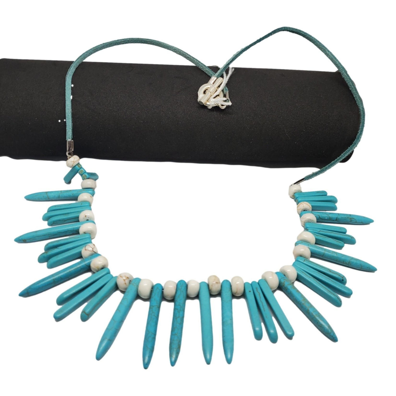 Jewellery by Deborah Young-Groves Turquoise Stones on Turquoise Leather Necklace