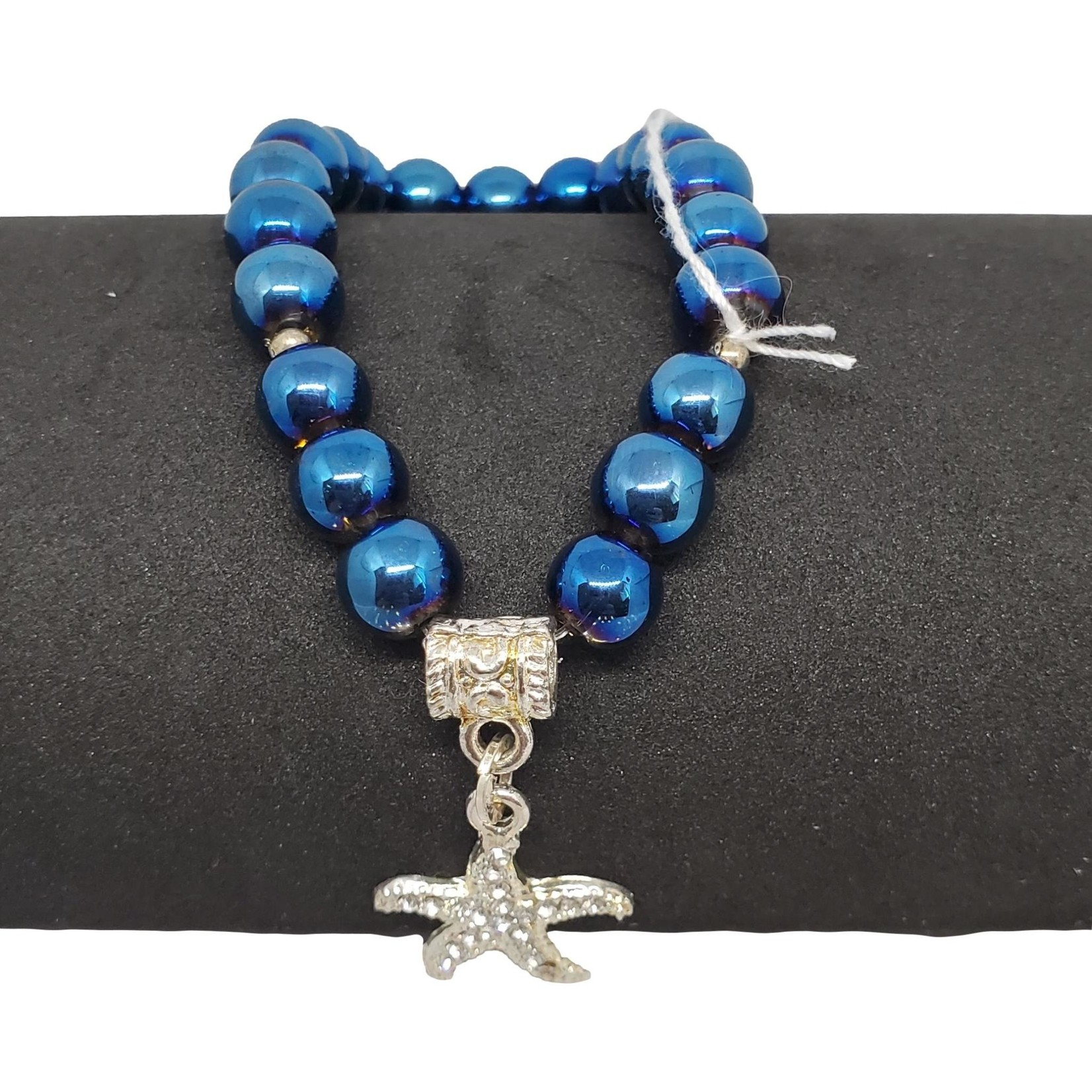 Jewellery by Deborah Young-Groves Blue Beads with Silver Starfish Bracelet