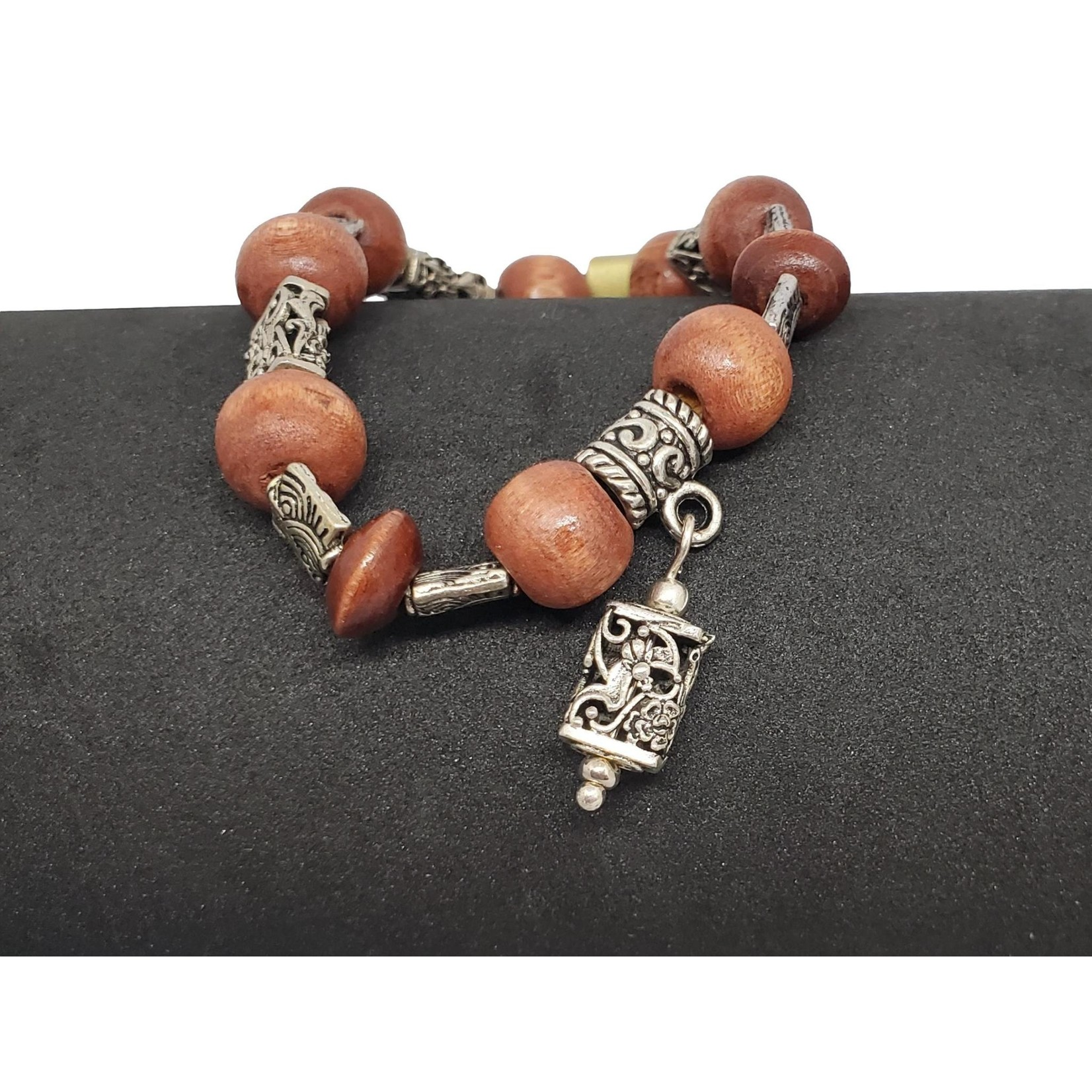Jewellery by Deborah Young-Groves Wood Beads with Silver Tibetan Beads Bracelet
