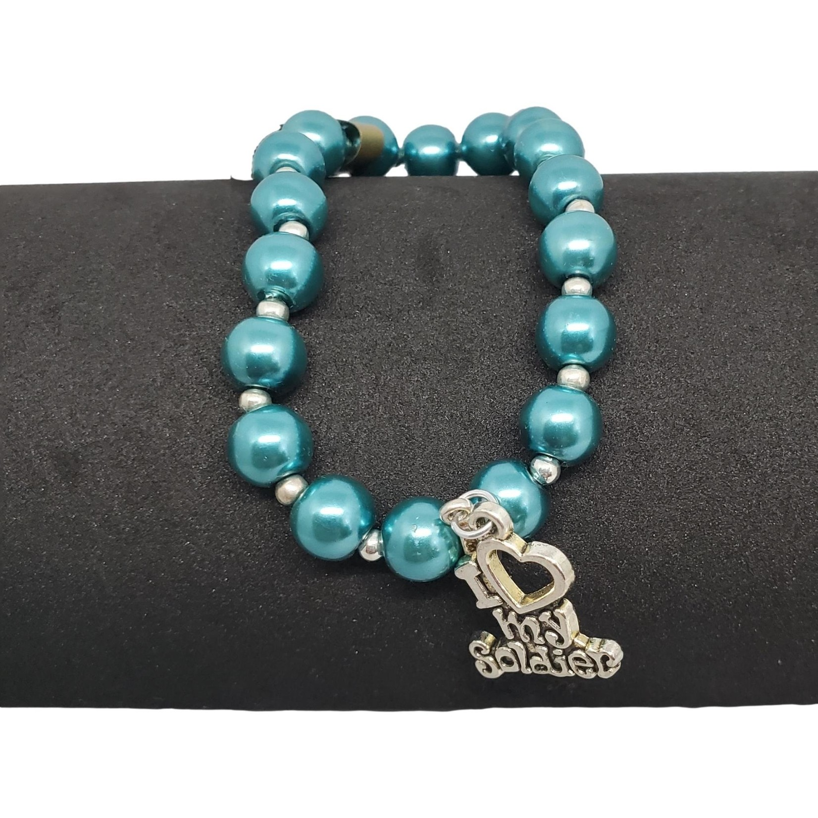 """Jewellery by Deborah Young-Groves Teal Beaded Bracelet with """"I Love My Soldier"""" Drop"""