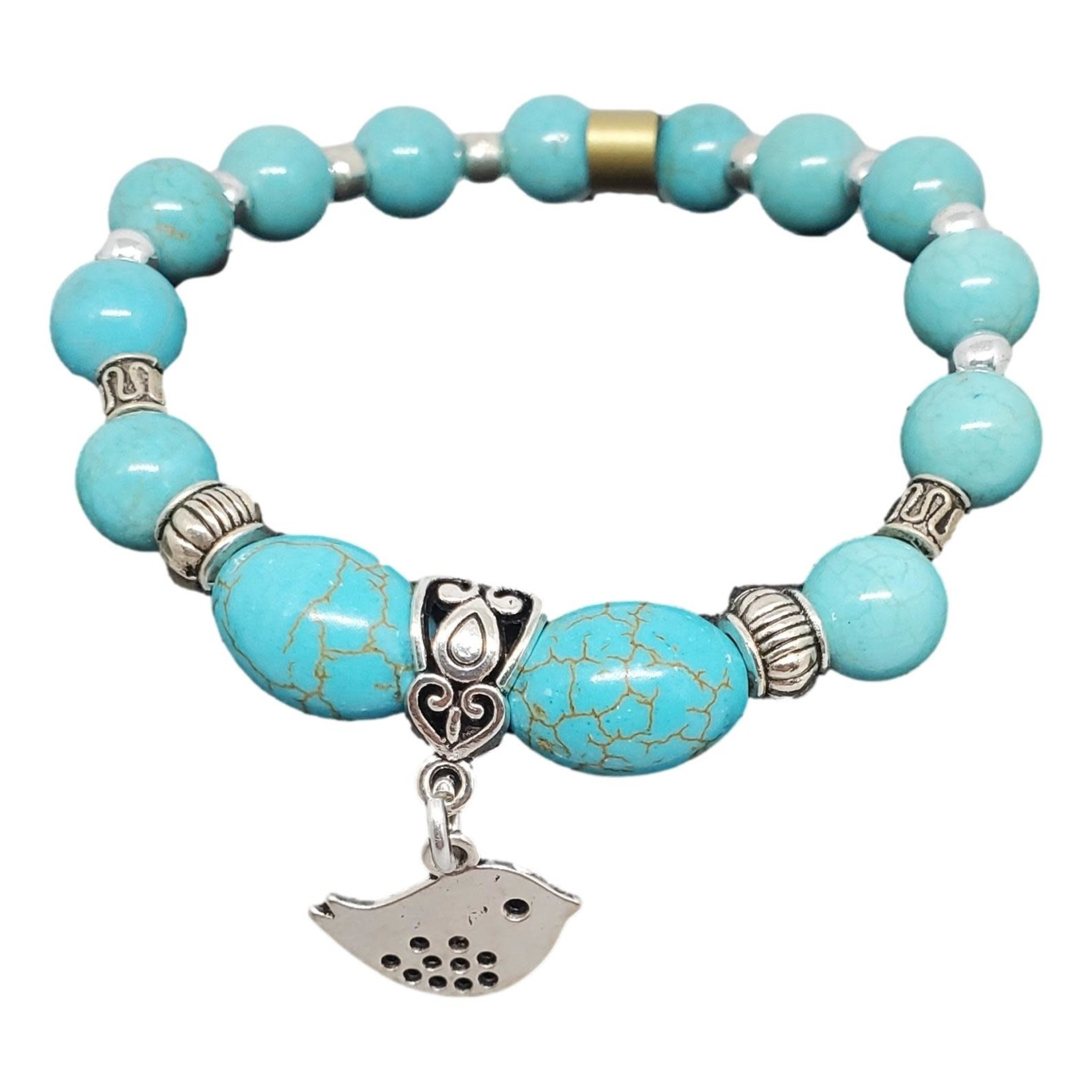 Jewellery by Deborah Young-Groves Turquoise and Silver Beaded Bracelet with Bird Drop