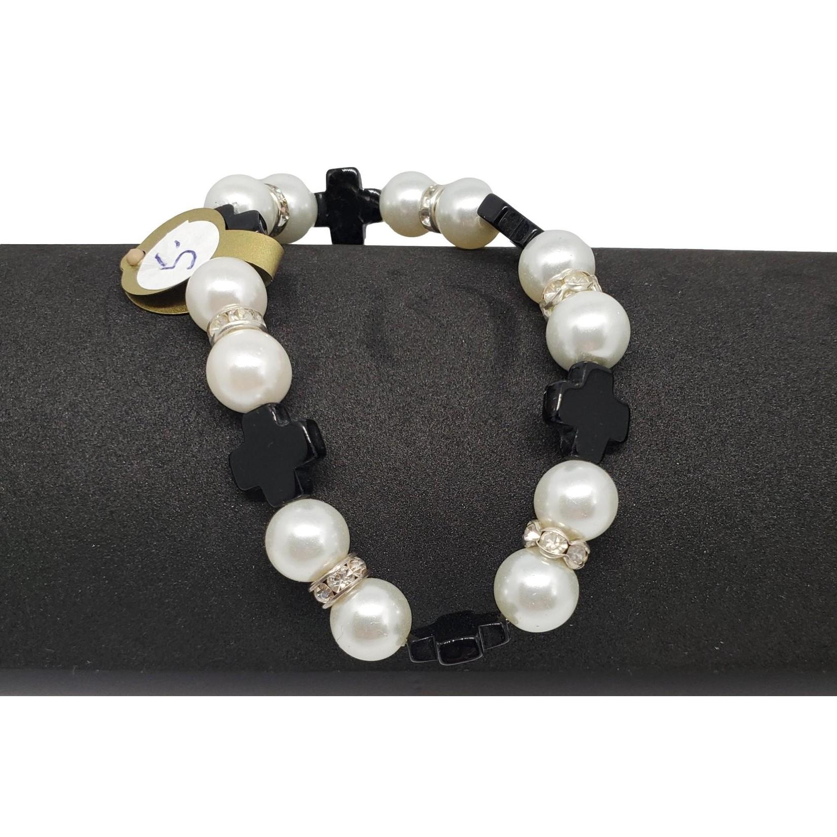 Jewellery by Deborah Young-Groves White Pearl & Black Cross Beaded Bracelet