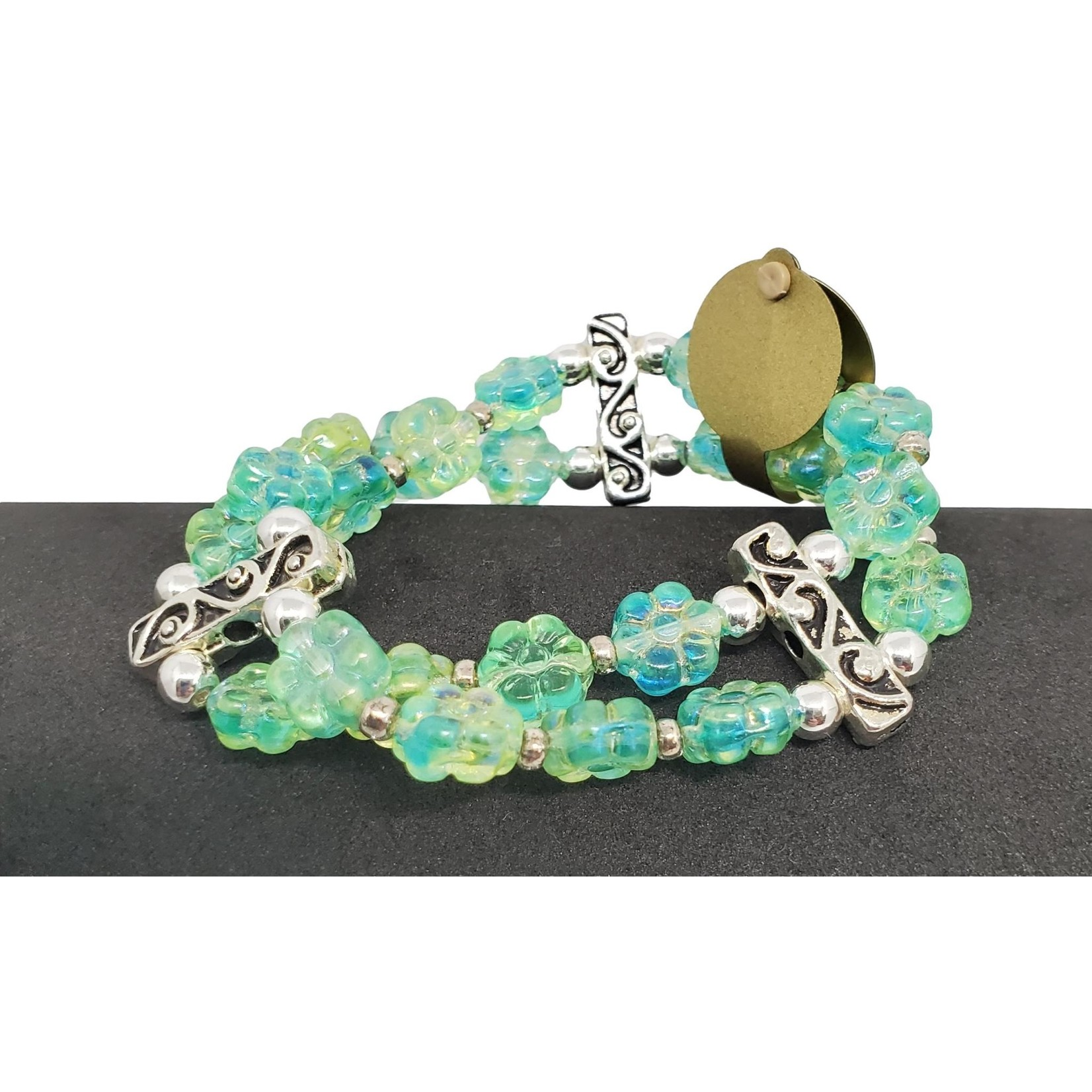 Jewellery by Deborah Young-Groves Double Row of Soft Green Floral Beads Bracelet