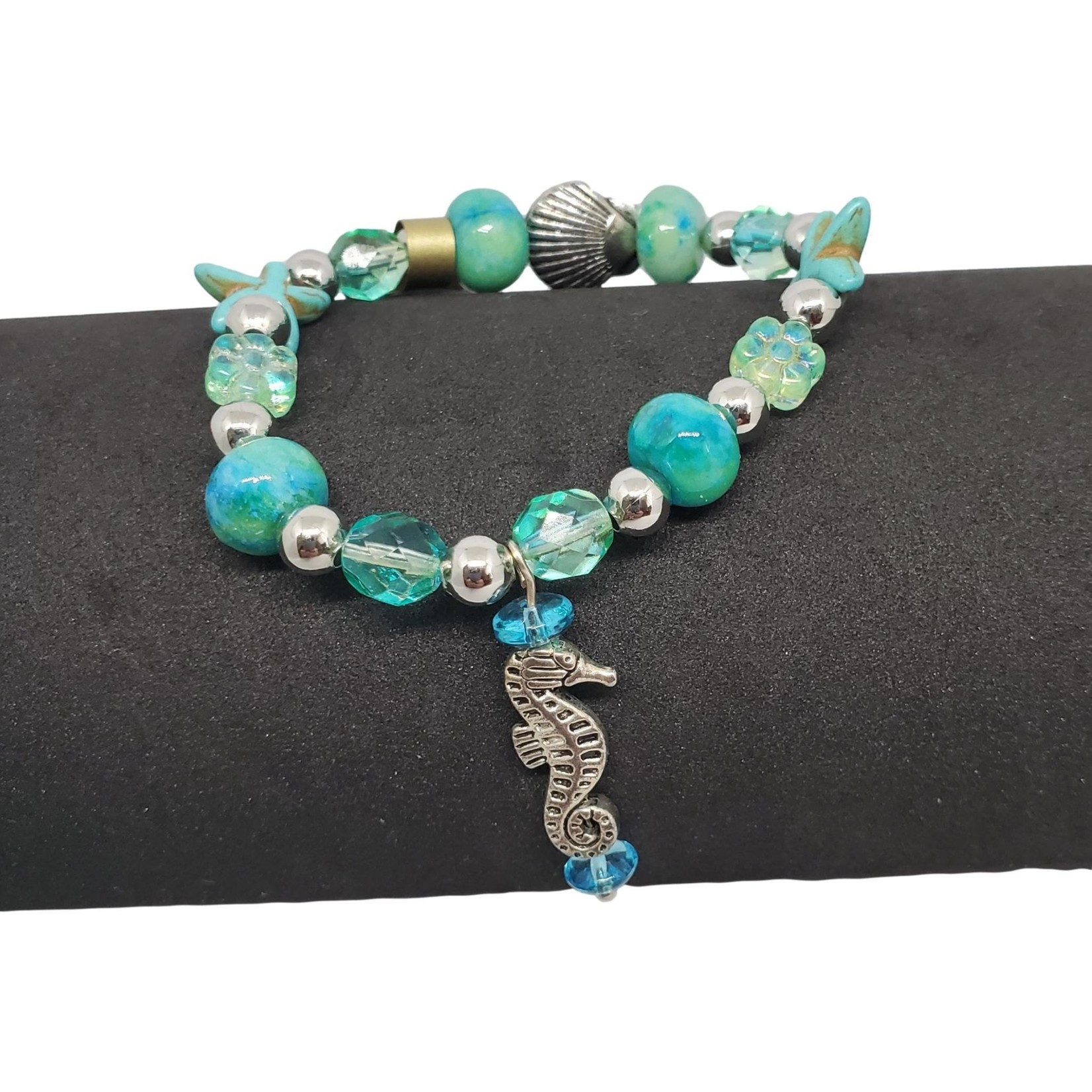Jewellery by Deborah Young-Groves Ocean-Themed Beaded Bracelet with Seahorse