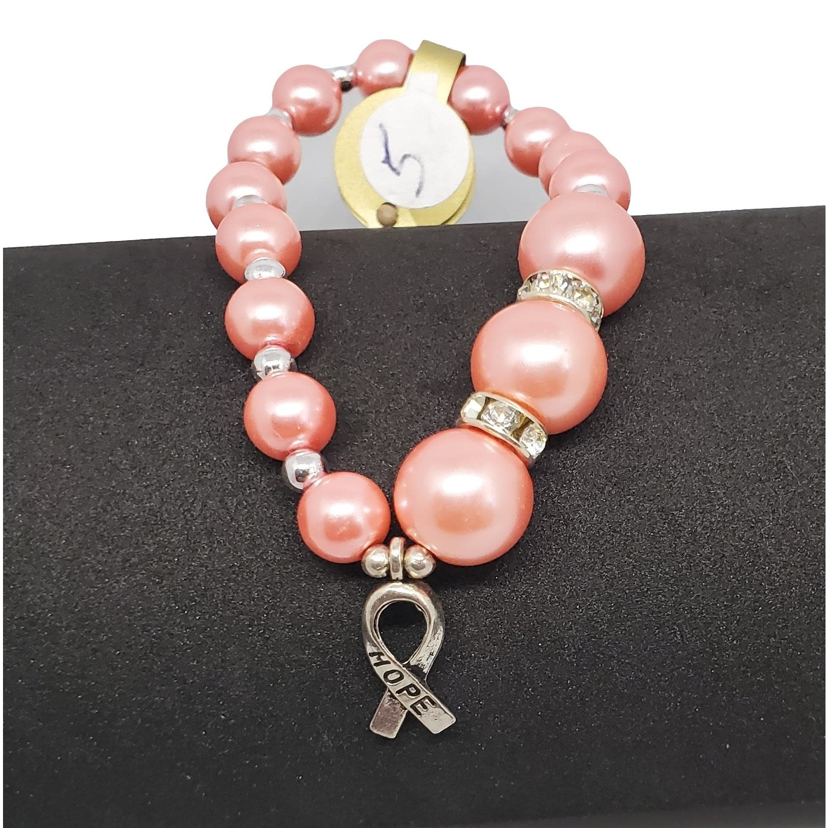 """Jewellery by Deborah Young-Groves Pink Pearl with """"Hope"""" Cancer Ribbon Drop"""