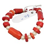 Jewellery by Deborah Young-Groves Red Coral & White Pearls Beaded Bracelet