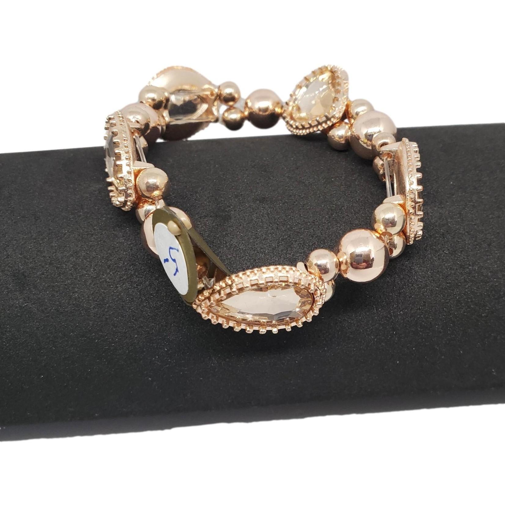 Jewellery by Deborah Young-Groves Rose-Gold Coloured Teardrop Beaded Bracelet