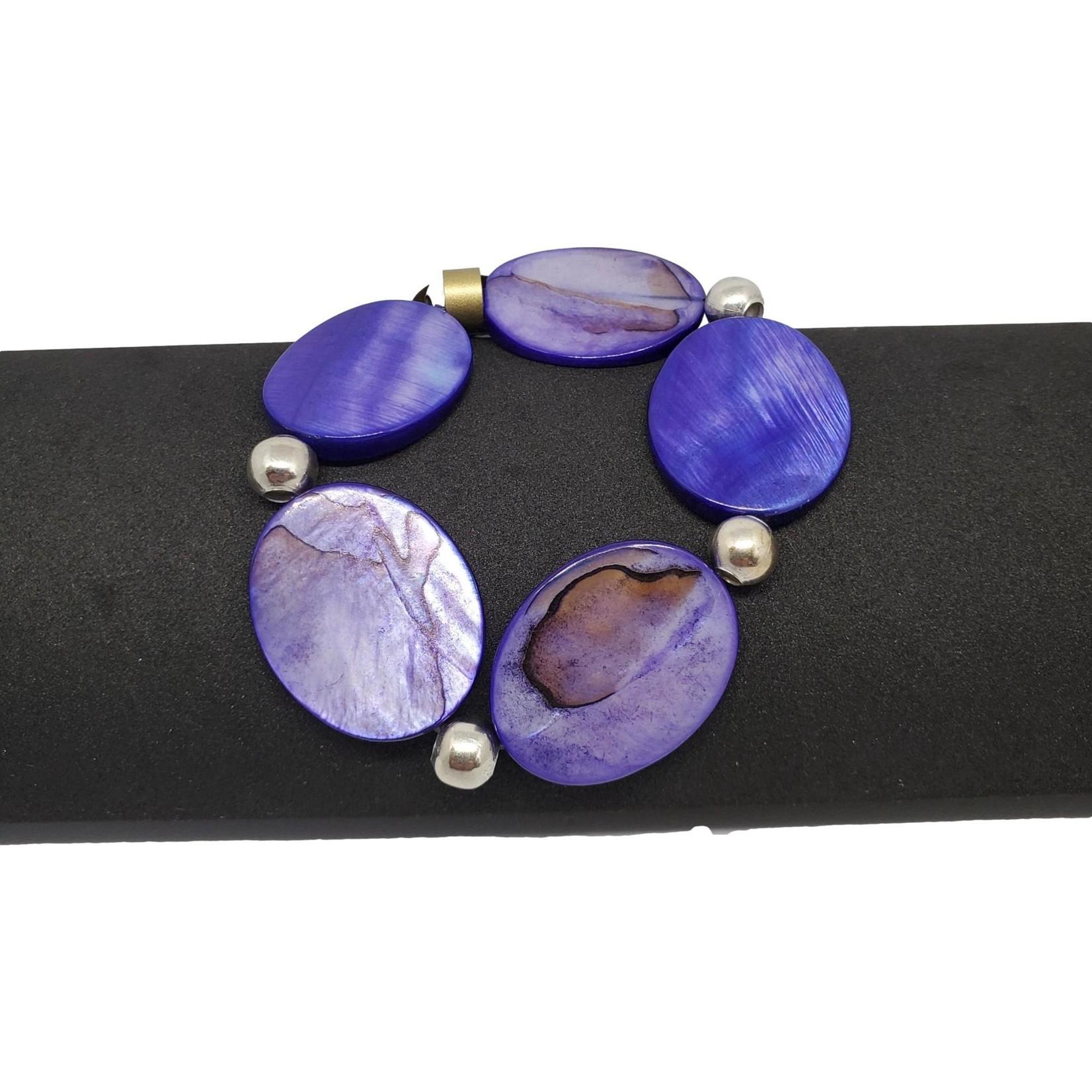 Jewellery by Deborah Young-Groves Flat Purple Oval Beaded Bracelet