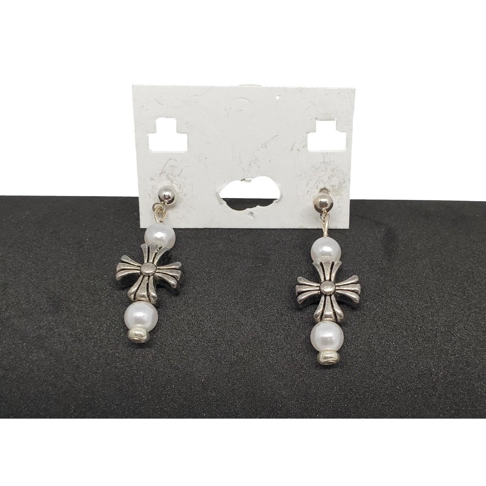 Jewellery by Deborah Young-Groves White Pearl & Silver Cross Drop Earrings