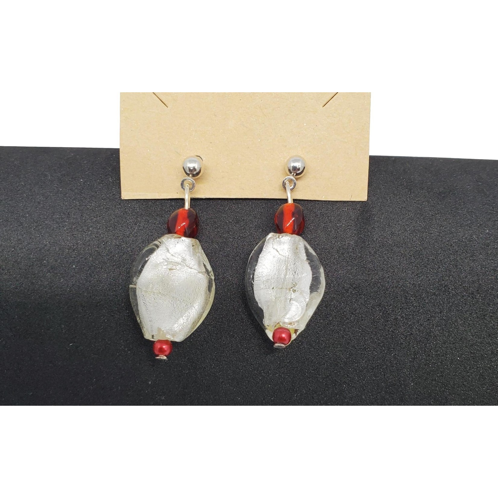 Jewellery by Deborah Young-Groves Red & Pearl White Drop Bead Earrings