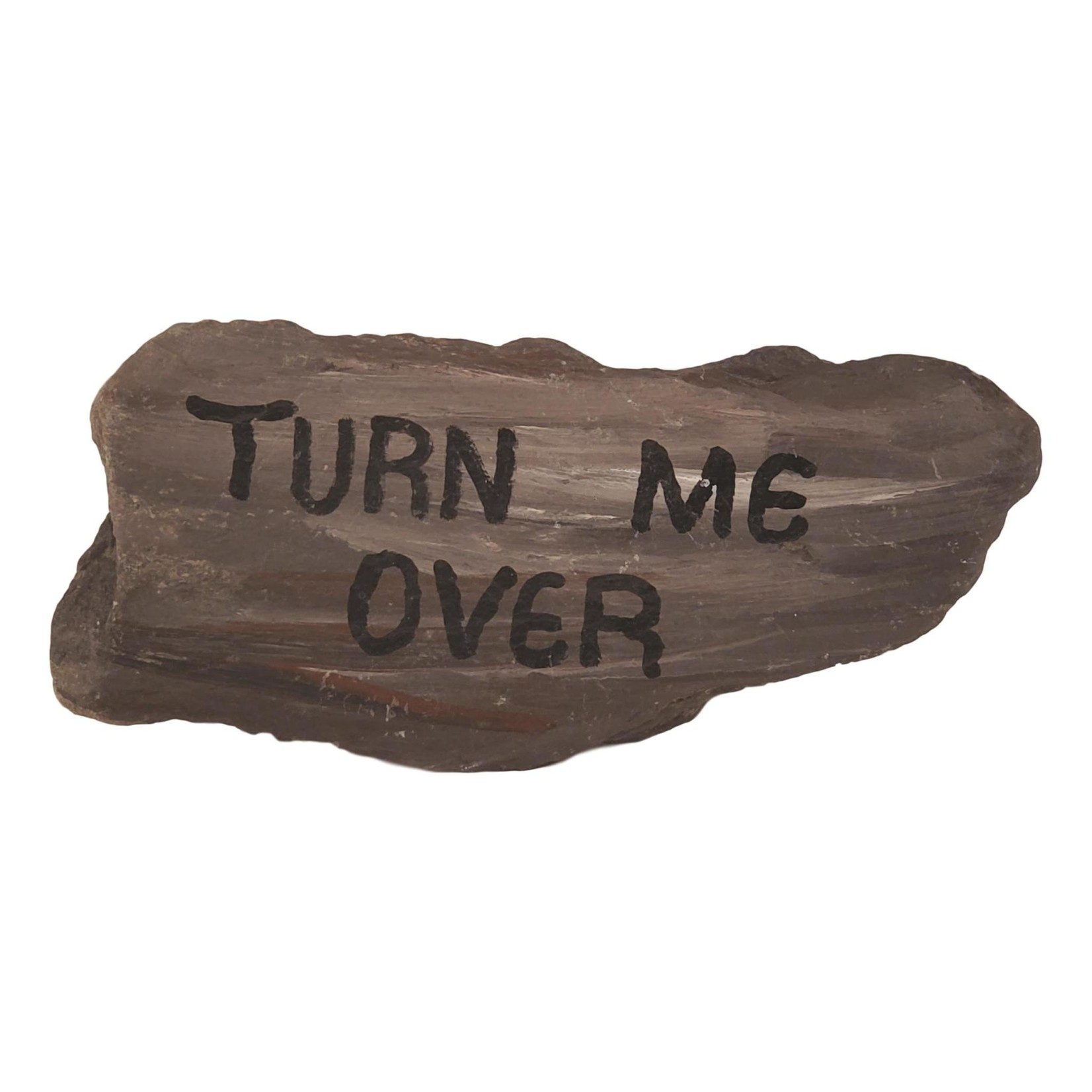 """Off The Wall Gallery Slate """"Turn Me Over"""" painted Rock"""
