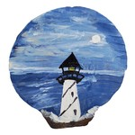 Off The Wall Gallery Hand-painted Scallop Shell - Lighthouse