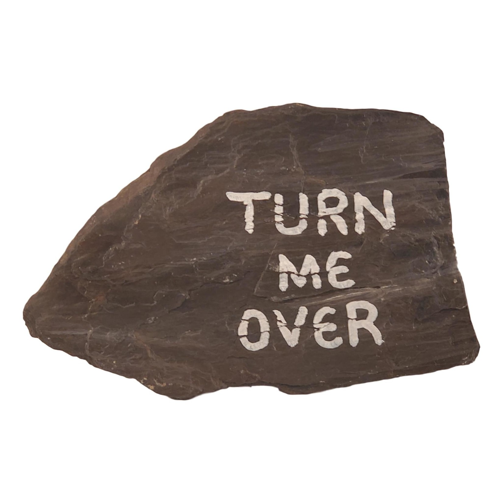 """Off The Wall Gallery Slate """"Turn Me Over"""" hand-painted Rock"""