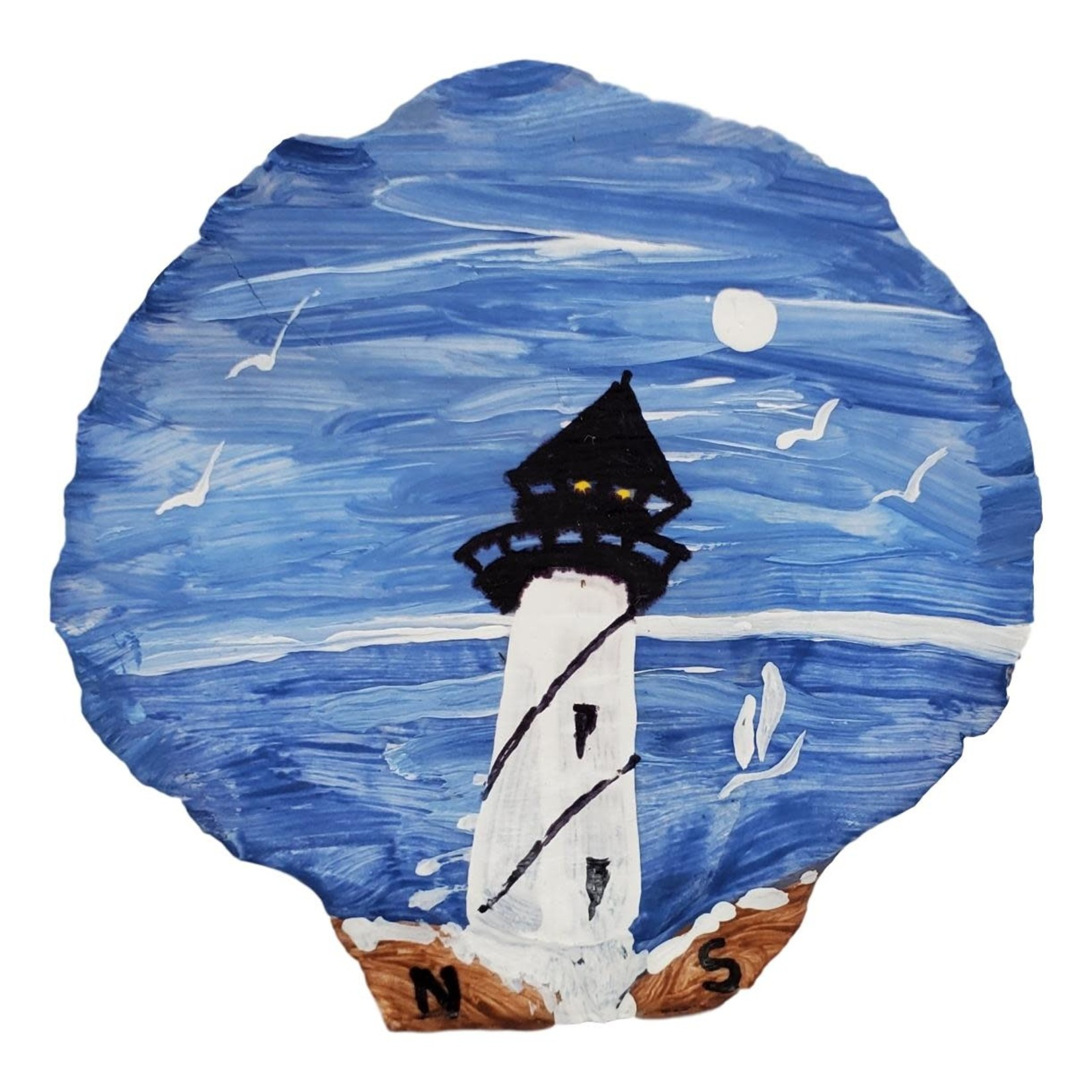Off The Wall Gallery Hand-painted Lighthouse Scallop Shell