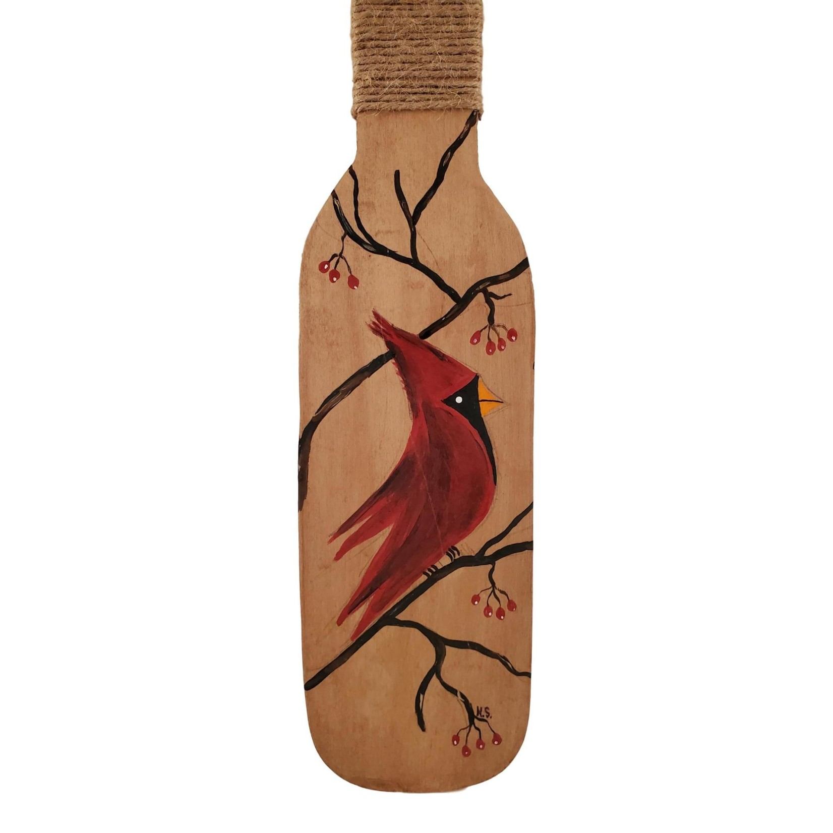 Off The Wall Gallery Handpainted Wall Hanging Paddle - Red Cardinal