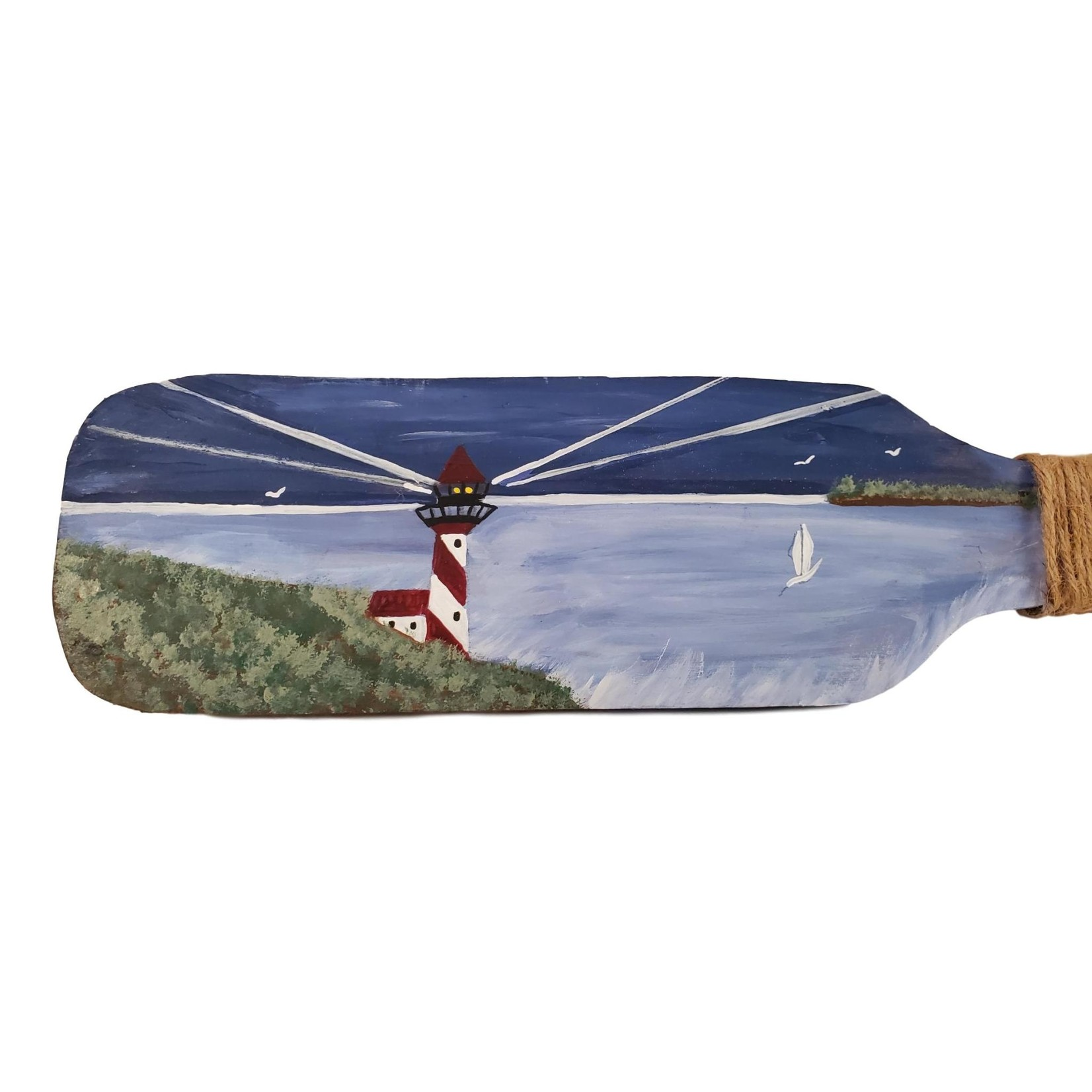 Off The Wall Gallery Hand-painted Wall Hanging Paddle - Lighthouse Ocean
