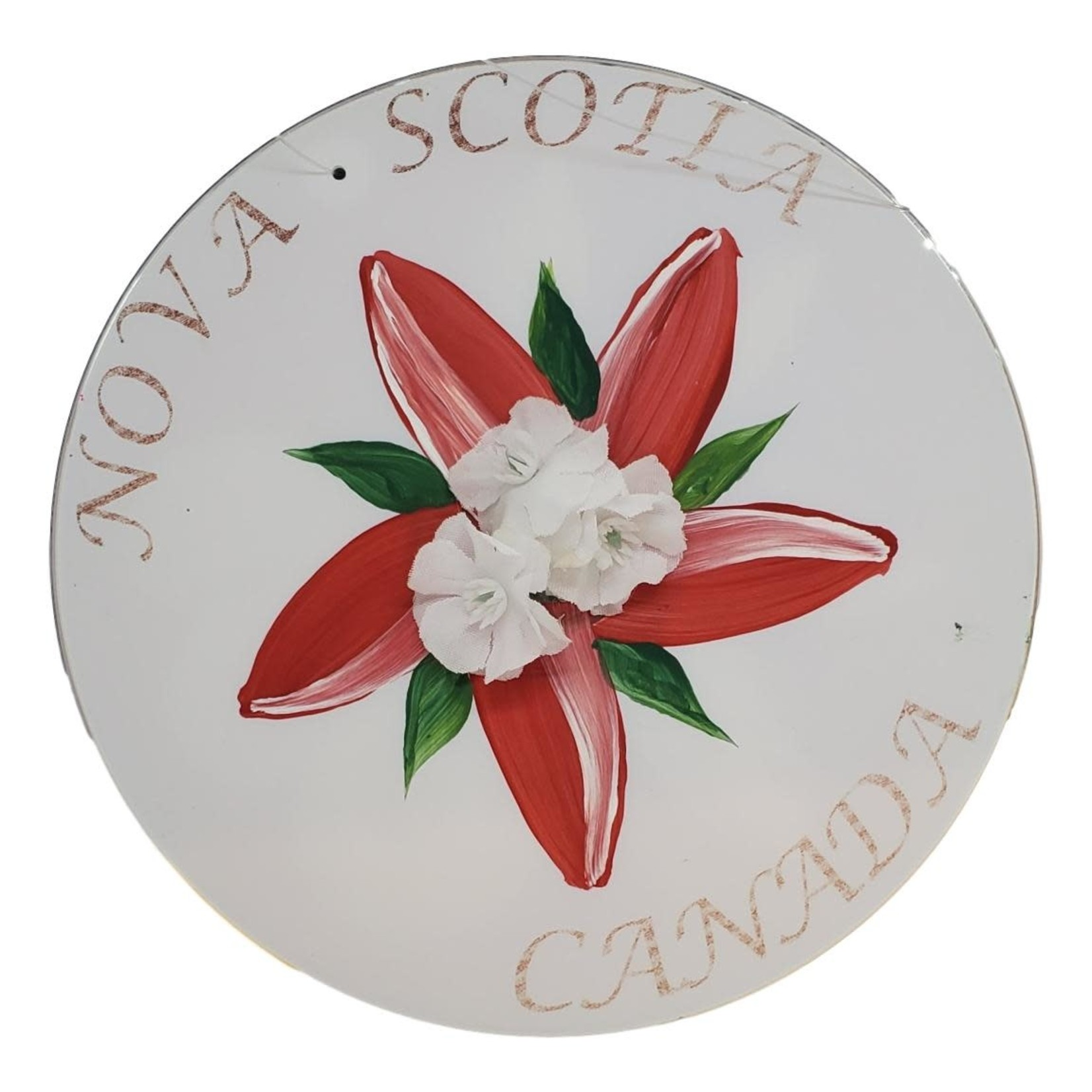 Off The Wall Gallery Hand-painted White Flower CD Suncatcher