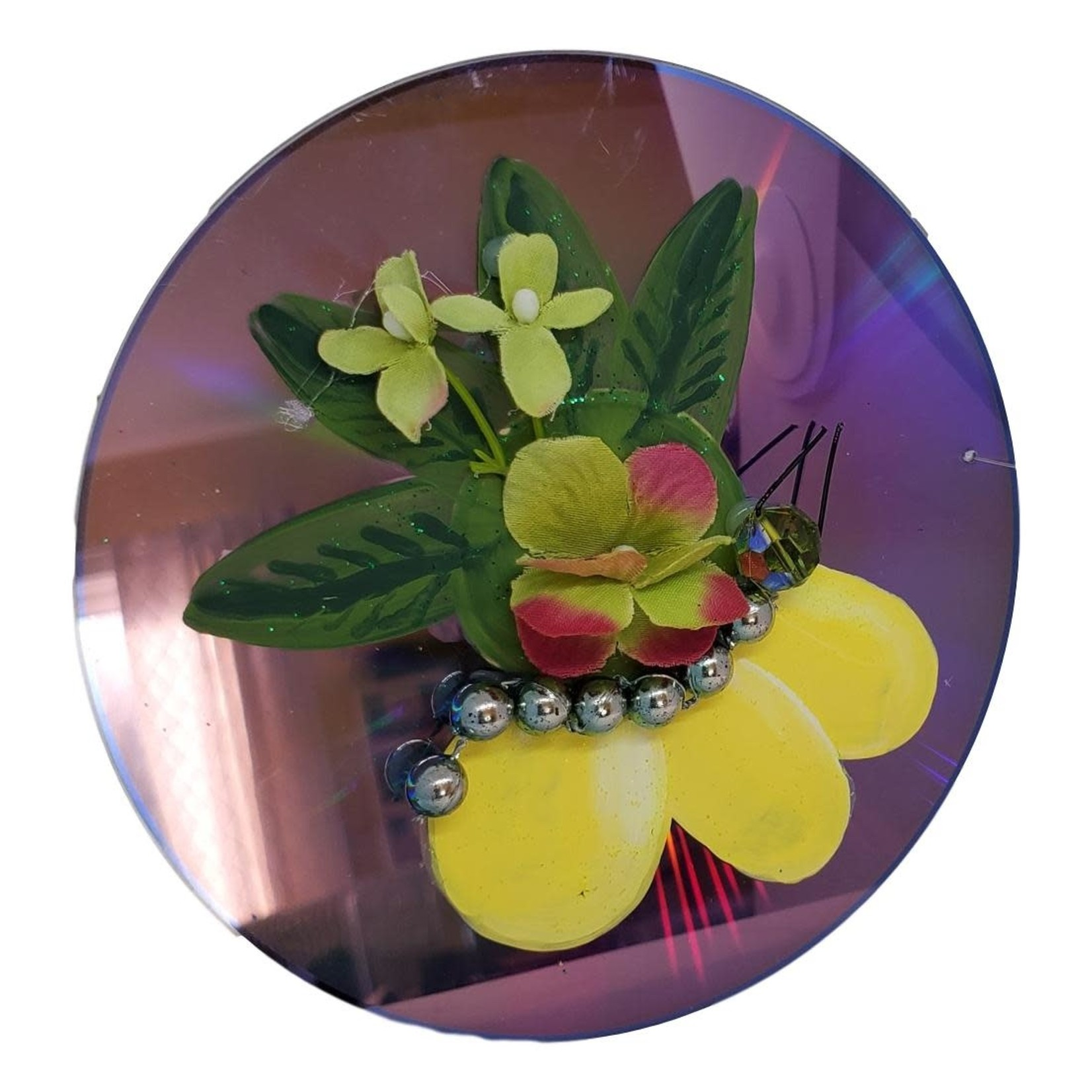 Off The Wall Gallery Hand-painted Yellow Flower CD Suncatcher