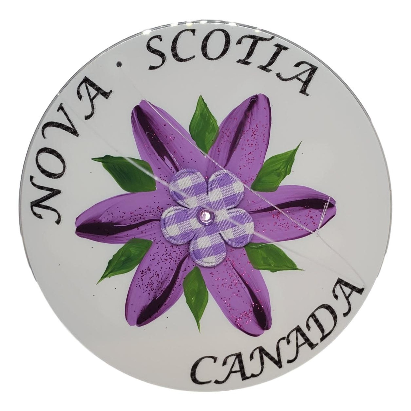Off The Wall Gallery Hand-painted Purple Flower CD Suncatcher