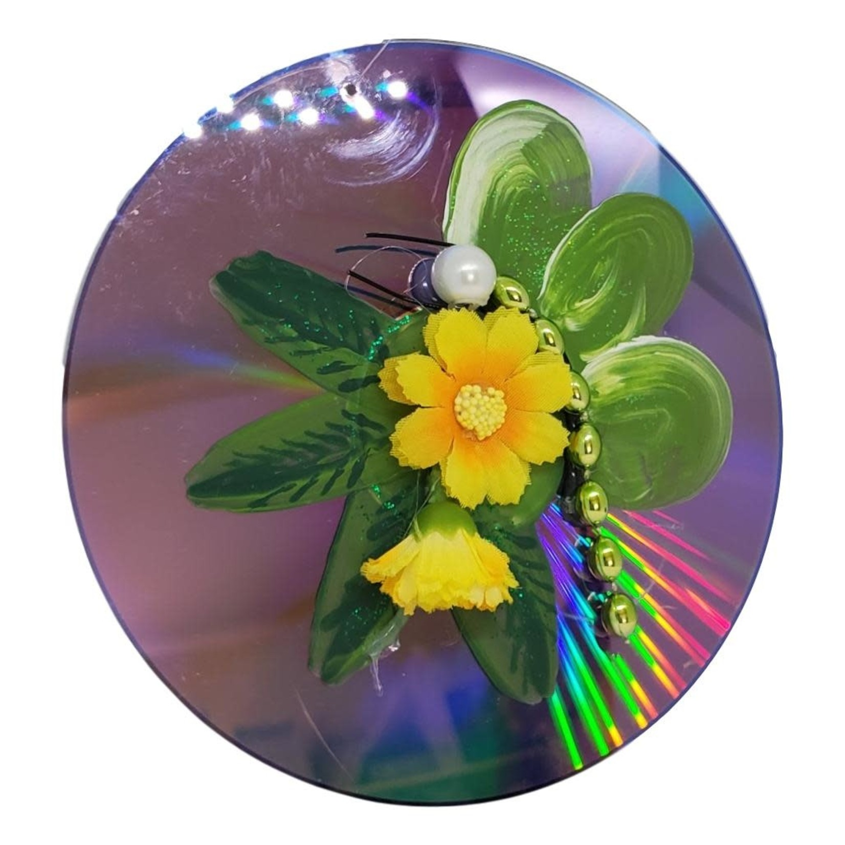Off The Wall Gallery Hand-painted Green Flower CD Suncatcher