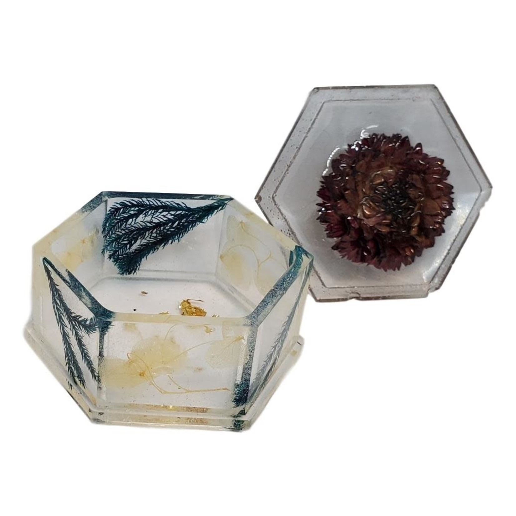 East Coast Sirens Clear Hexagon Trinket Dish With Flowers
