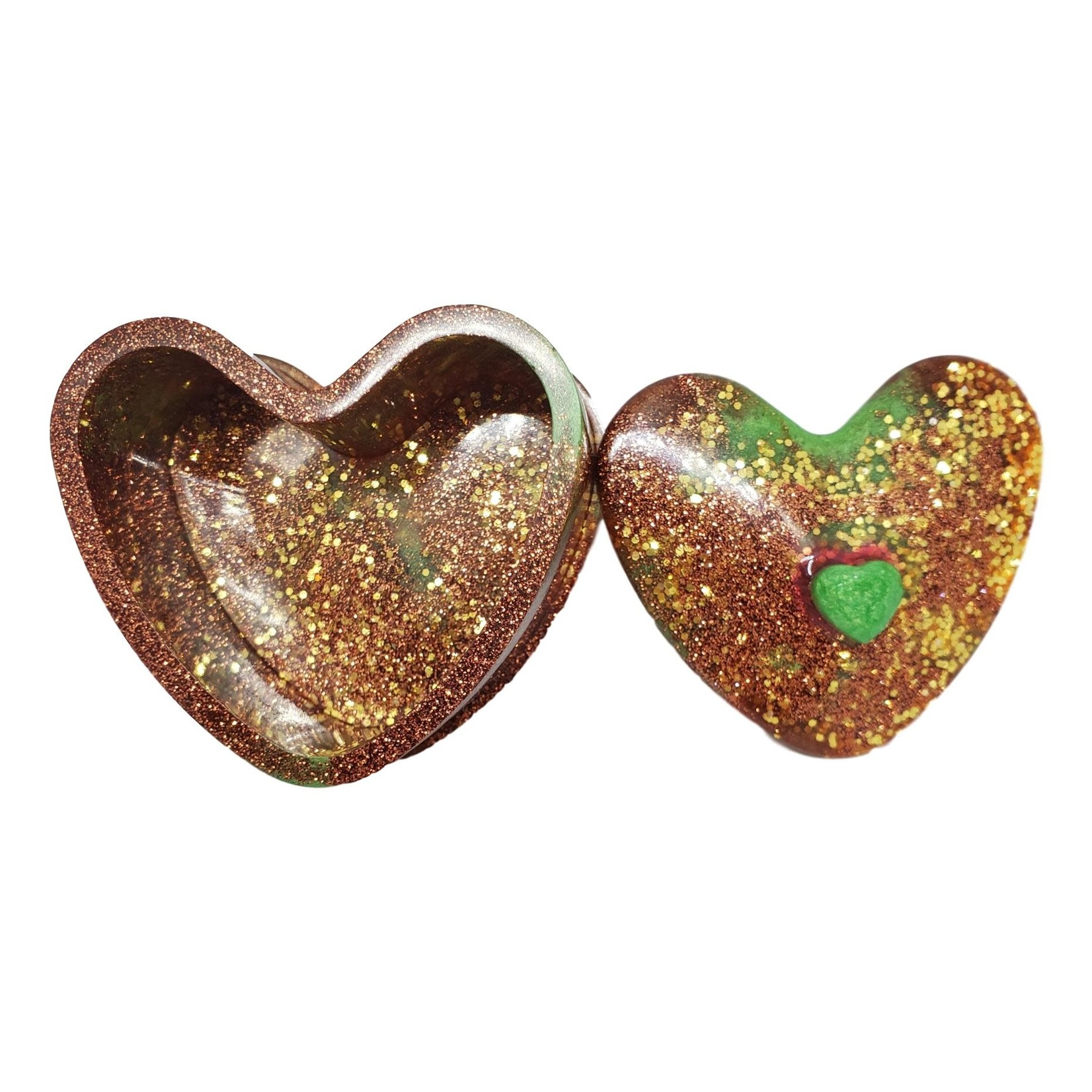 East Coast Sirens Gold, Copper with Hints of Green Heart Trinket Box