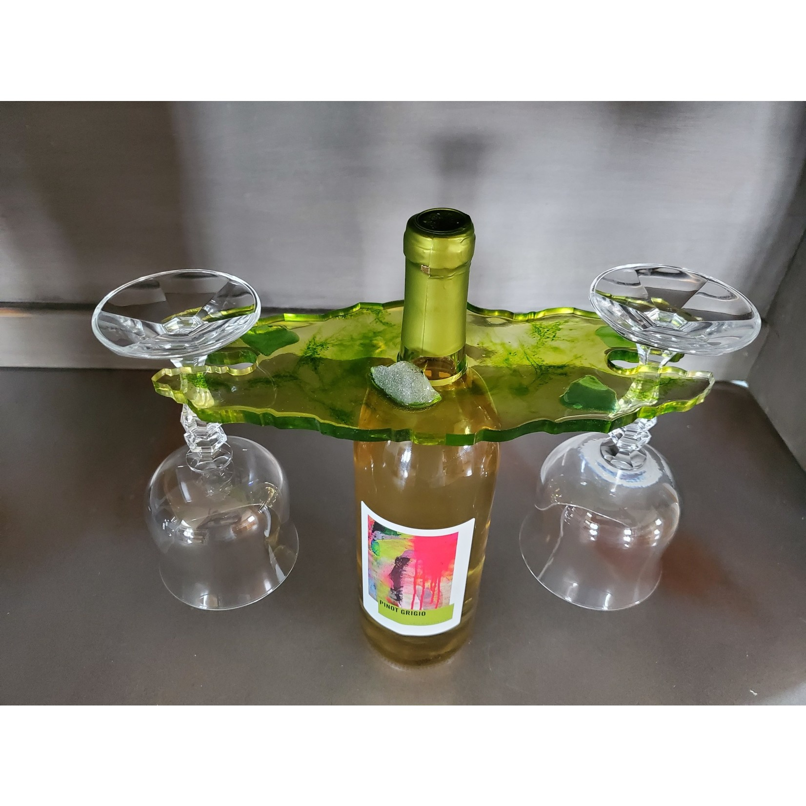 East Coast Sirens Wine Butler in Soft Greens with Beach Glass